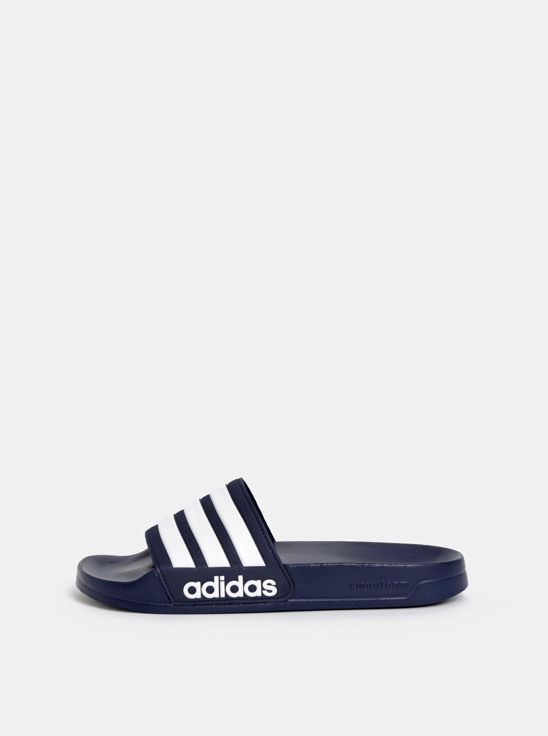 46518dd30 Tmavě modré pánské pruhované pantofle adidas CORE Adilette Shower