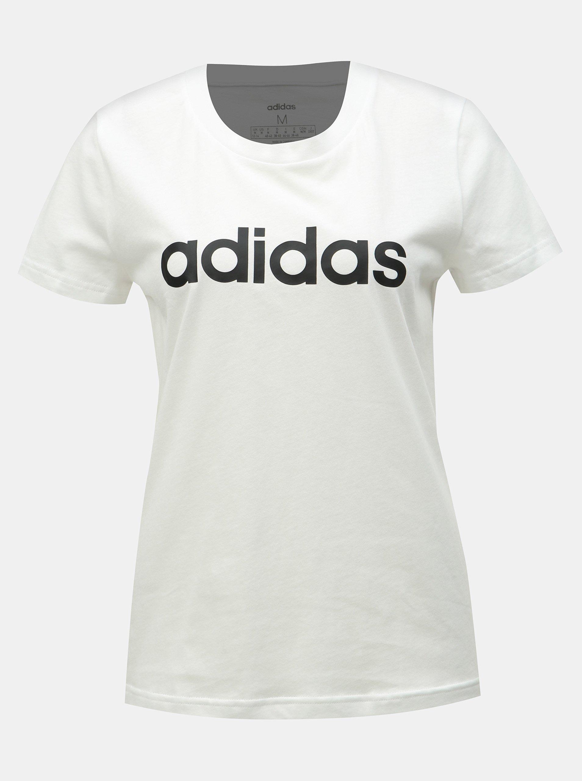 f5d7cfd59b3b Bílé dámské slim fit tričko s potiskem adidas CORE