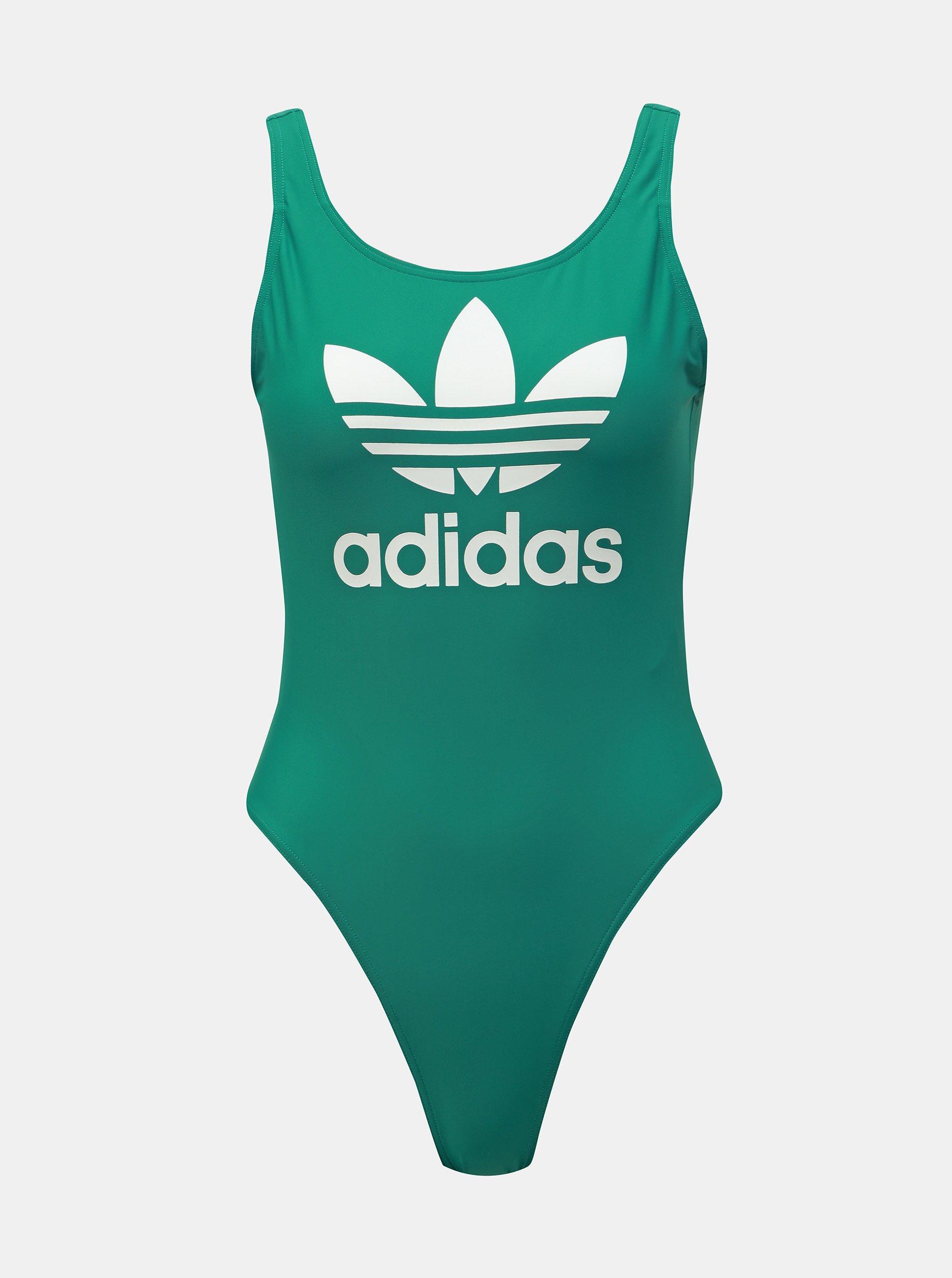 Zelené dámske jednodielne plavky s potlačou adidas Originals