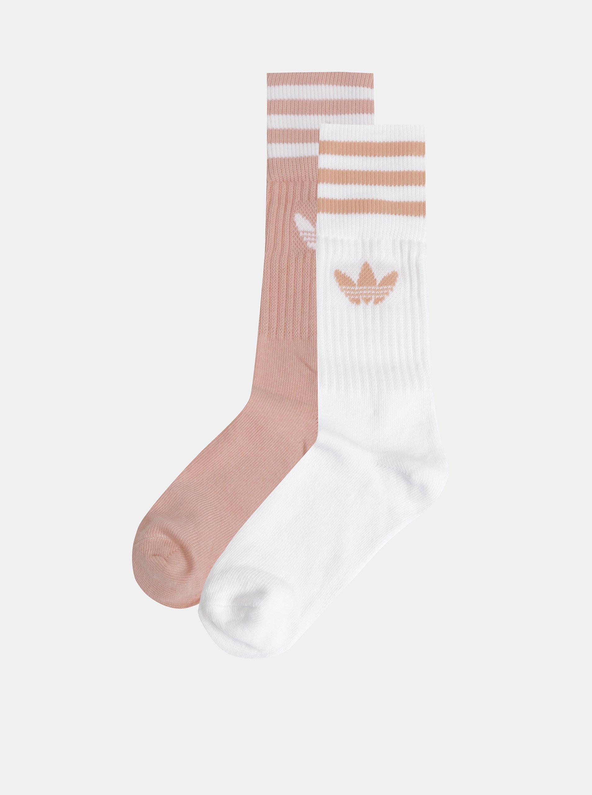 Fotografie Sada dvou párů dámských ponožek v meruňkové a bílé barvě adidas Originals Solid Crew