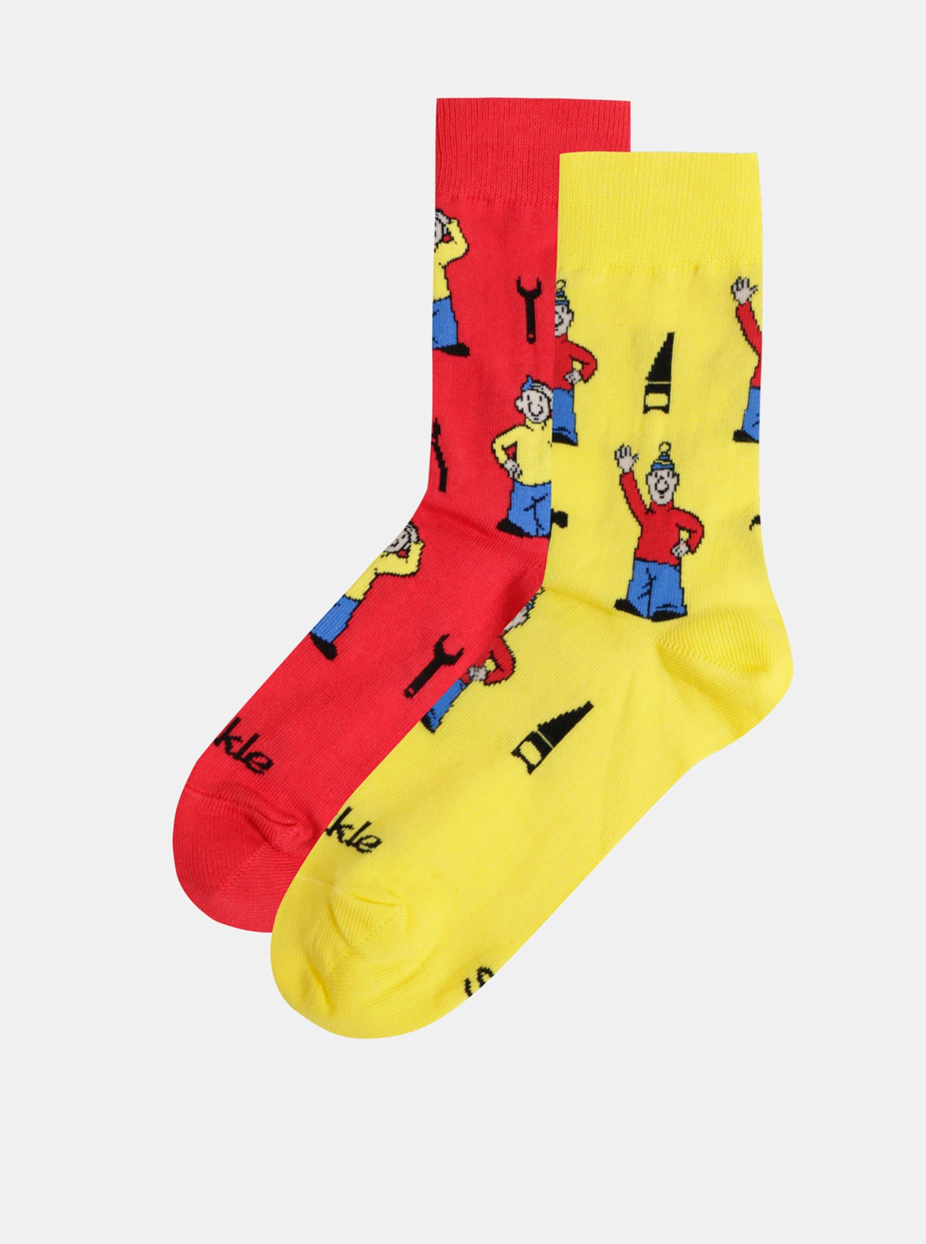 Žlto–červené vzorované ponožky Fusakle Pat a Mat