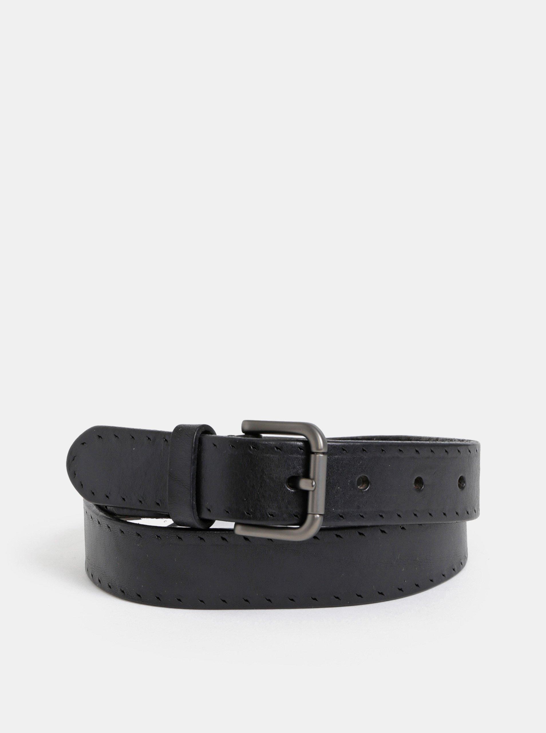 Čierny vzorovaný kožený opasok s kovovou prackou Selected Homme Belt