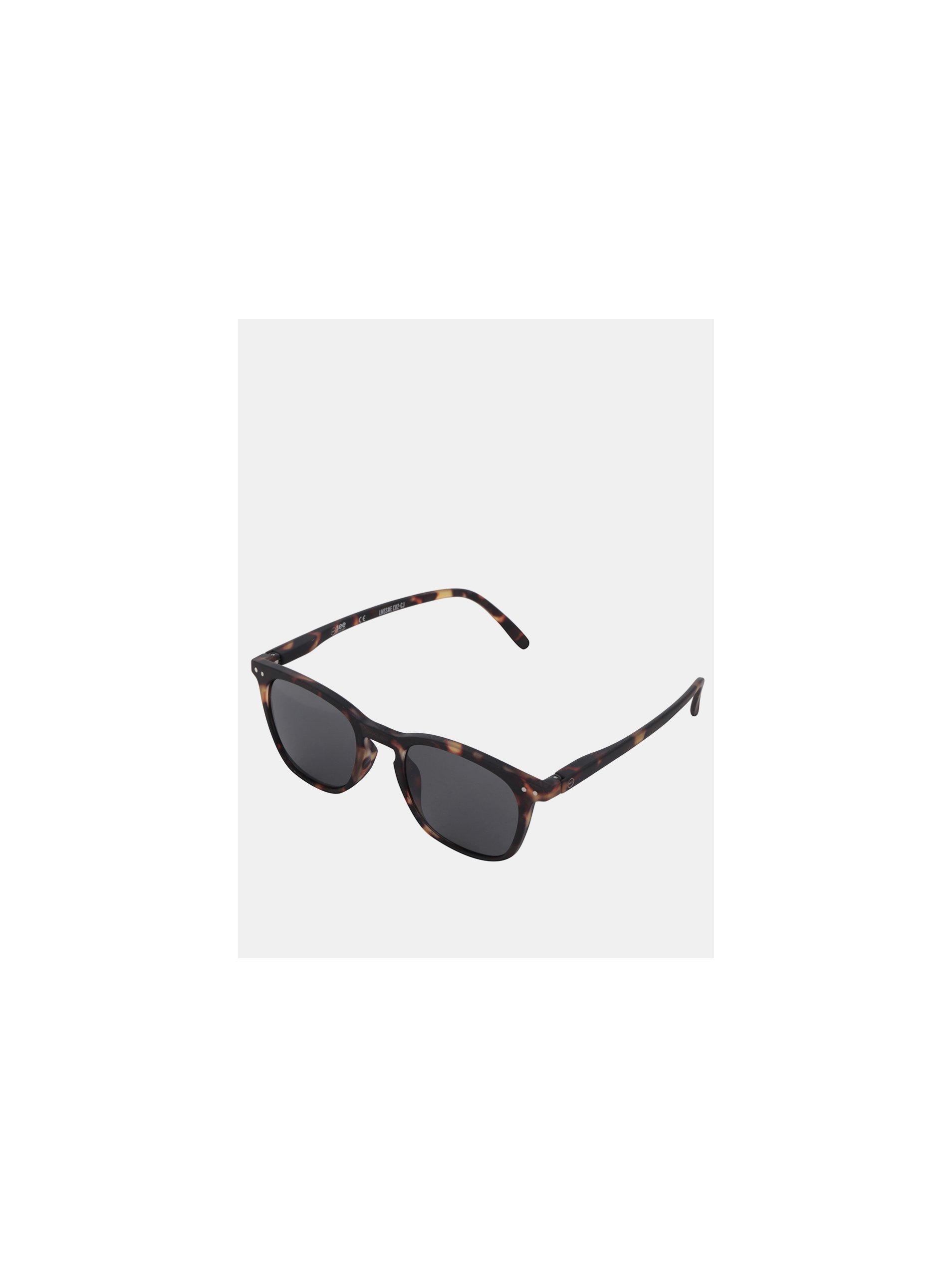 cac728866 Hnědo-černé vzorované sluneční brýle s černými skly IZIPIZI #E