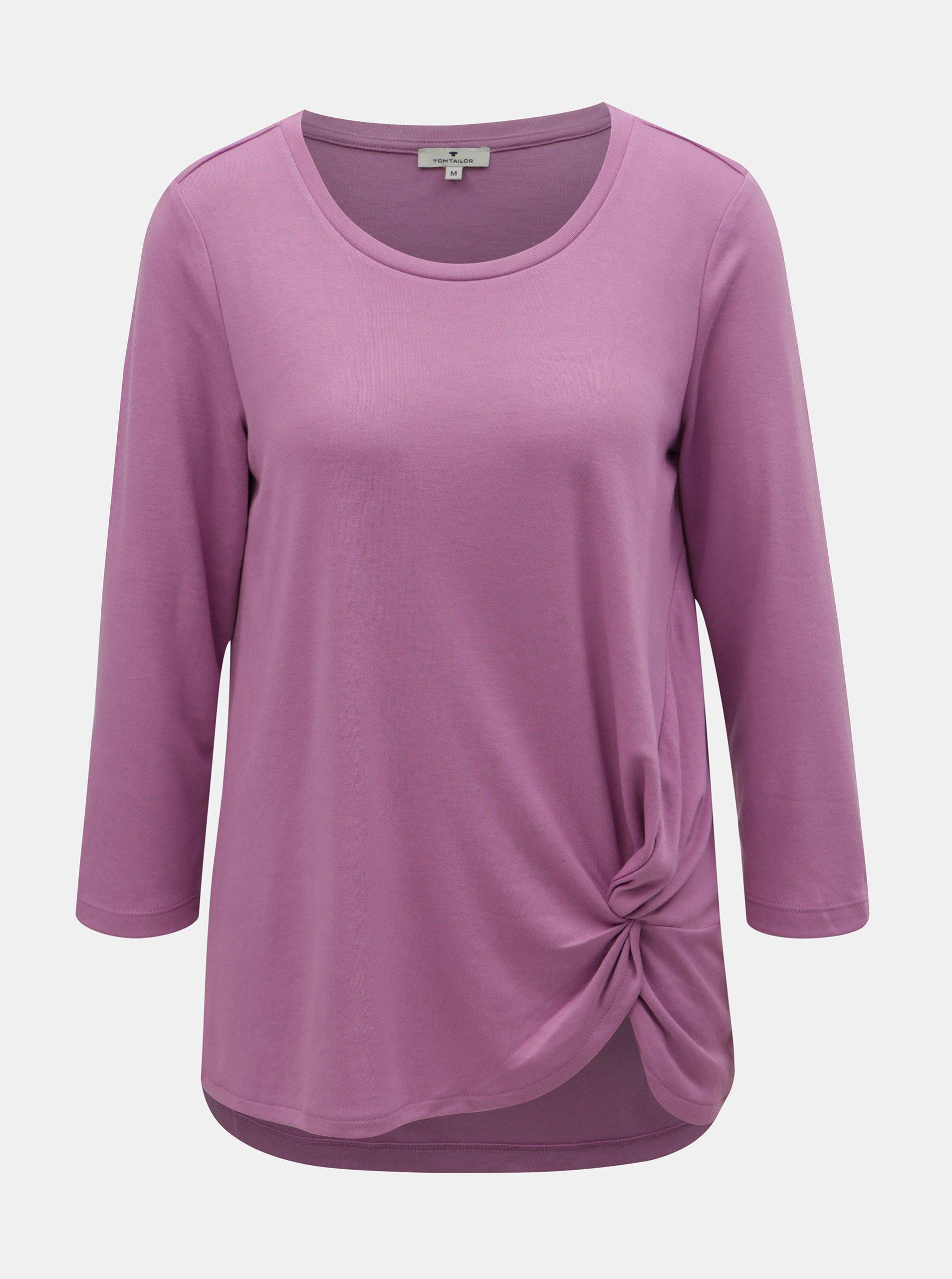 823d61fee838 Fialové dámské tričko s řasením na boku Tom Tailor