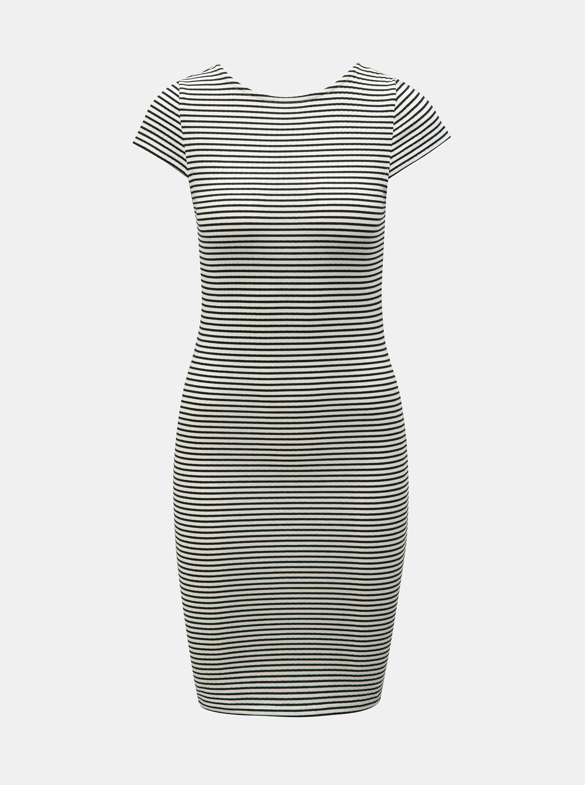 Černo-bílé pruhované pouzdrové šaty ONLY Pablo