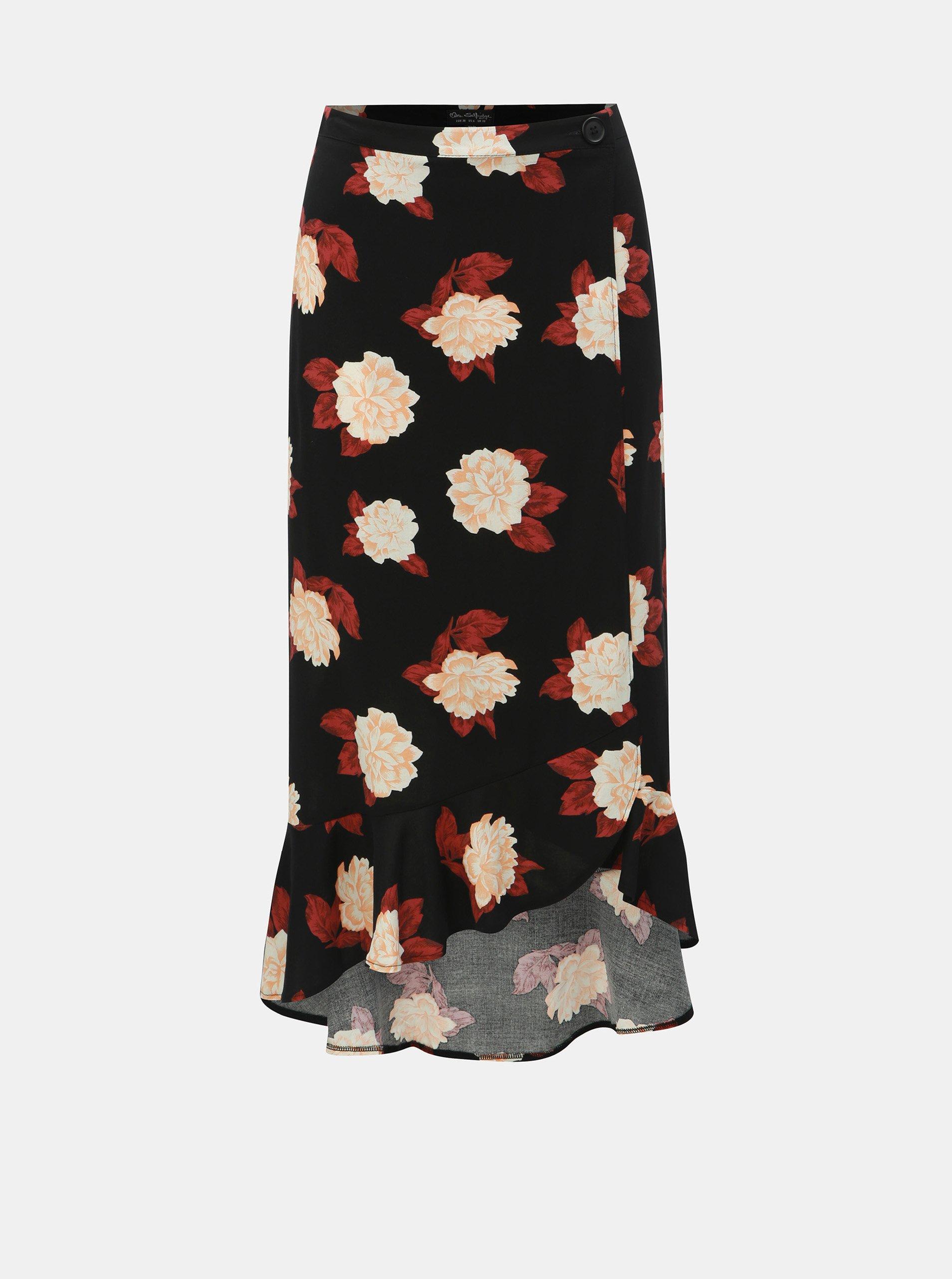 Černá květovaná zavinovací sukně Miss Selfridge Miss Selfridge