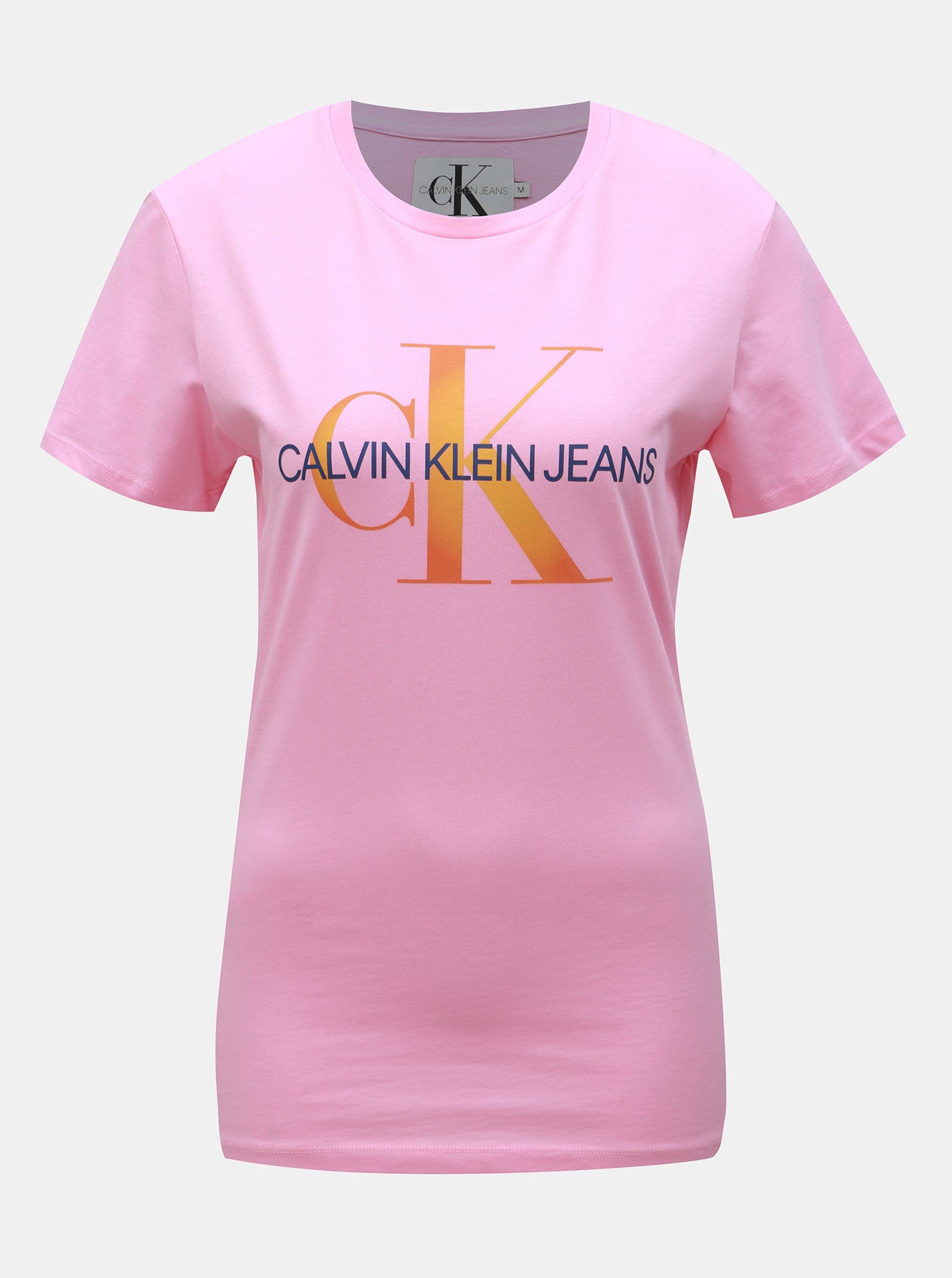 3fb460846 Růžové dámské tričko s potiskem Calvin Klein Jeans
