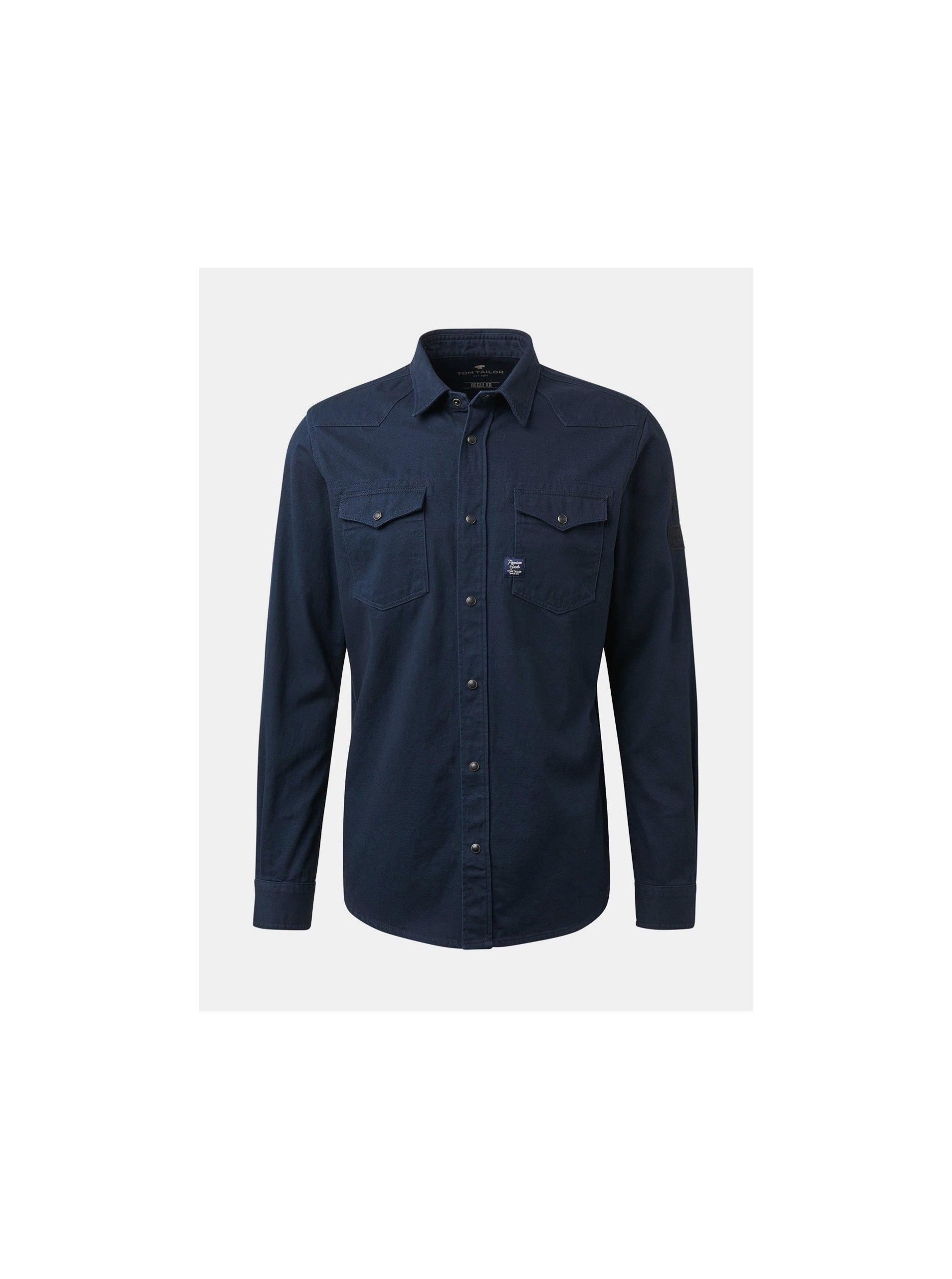 7eb7b9fe4717 Tmavě modrá pánská džínová regular fit košile Tom Tailor