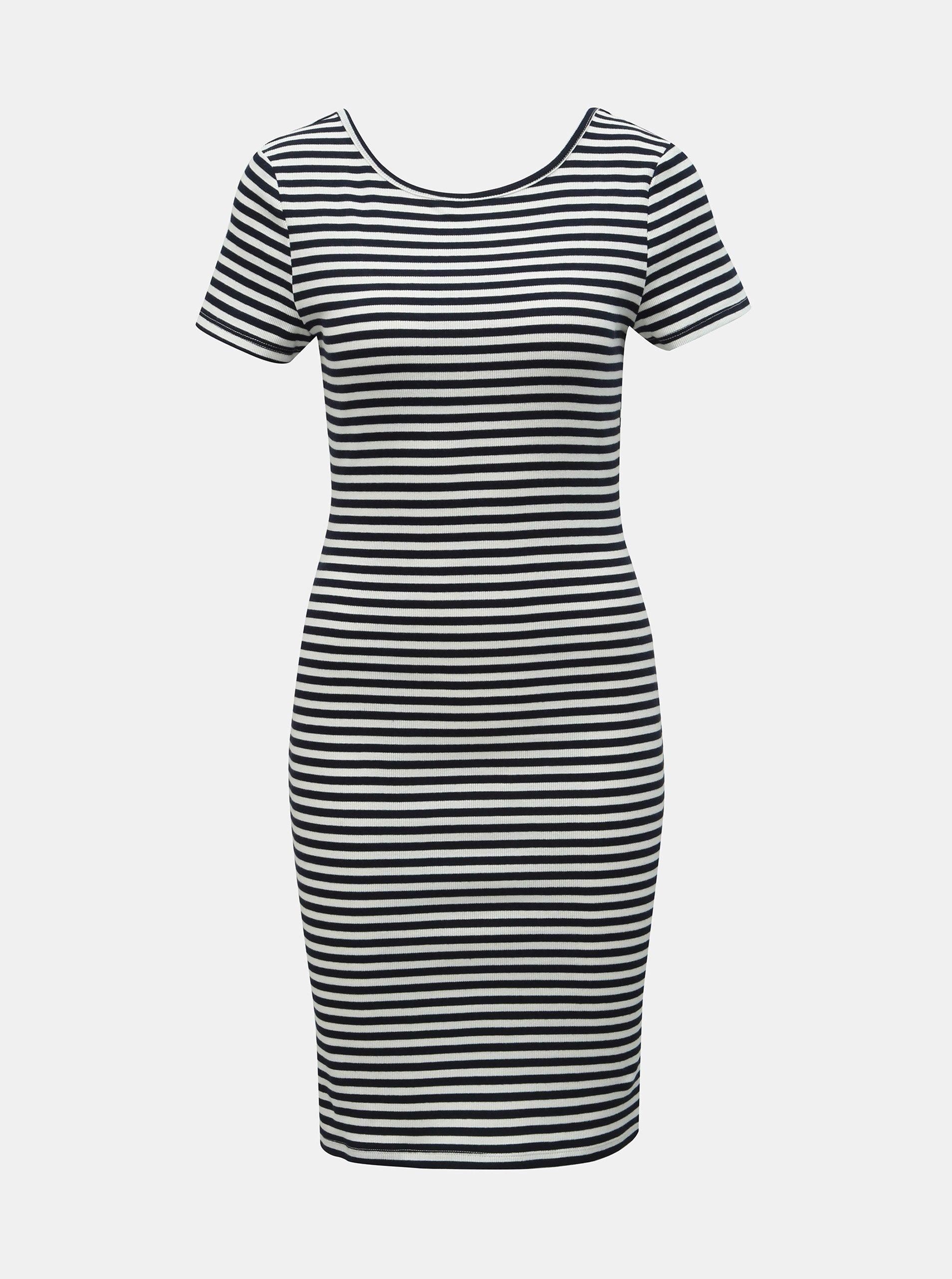Bielo–modré pruhované puzdrové šaty ONLY Bella