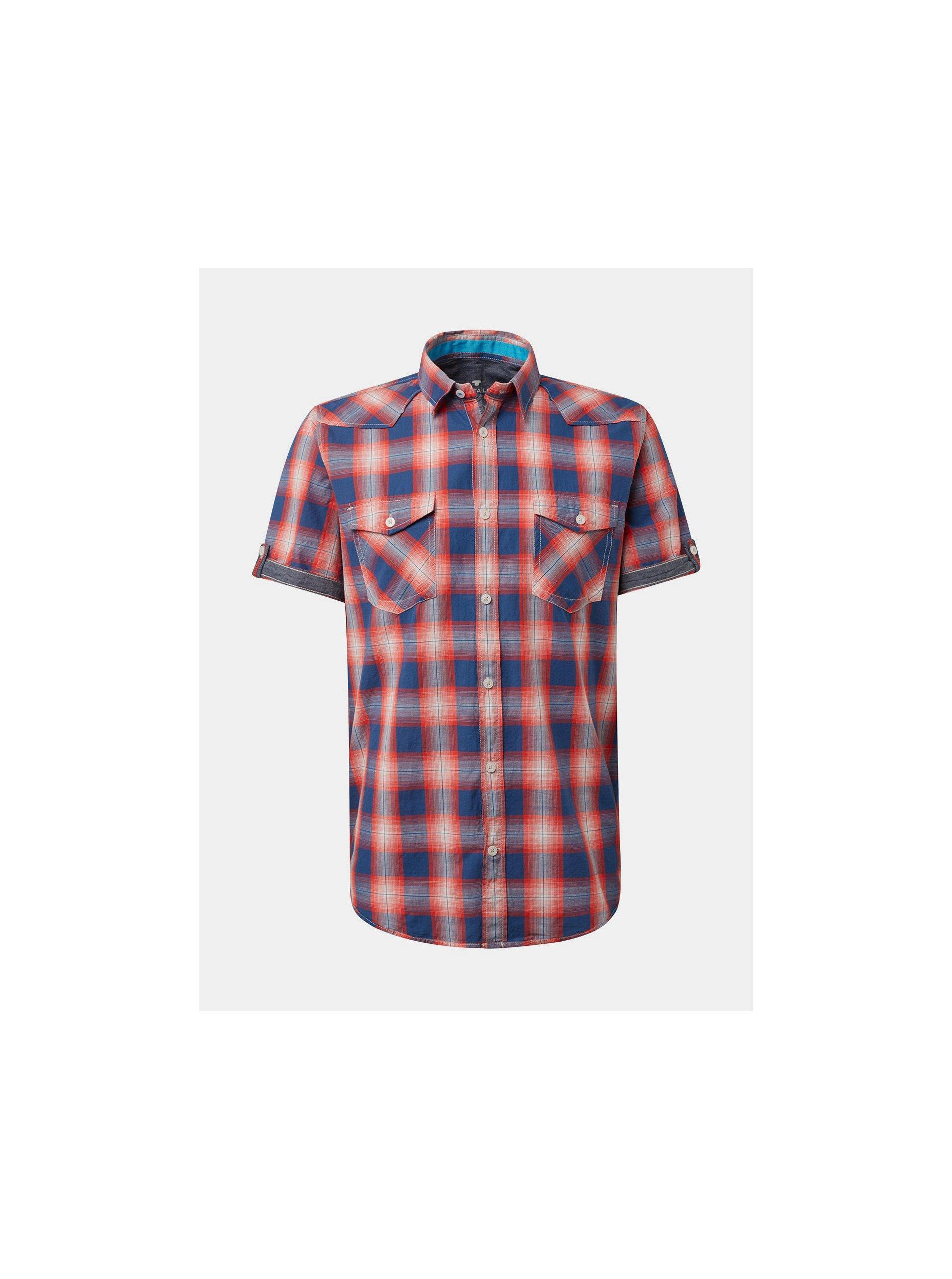 e927c8f6a8b0 Červená pánská kostkovaná regular fit košile Tom Tailor