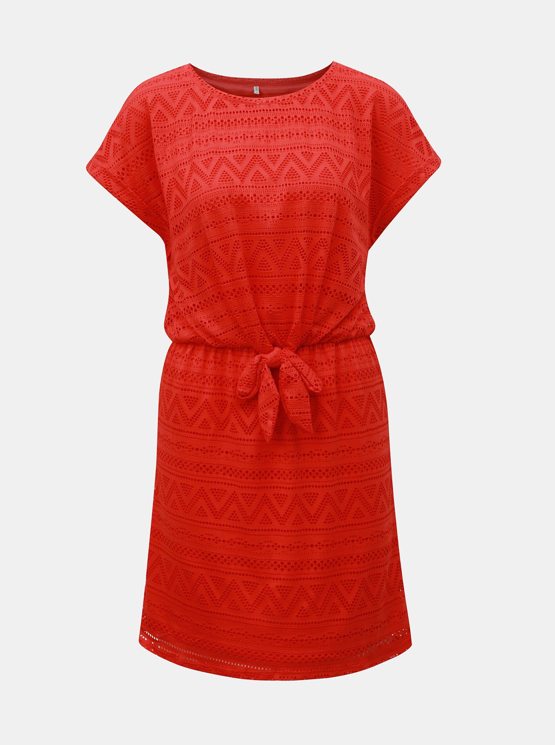 Červené čipkované šaty s mašľou ONLY Jolly