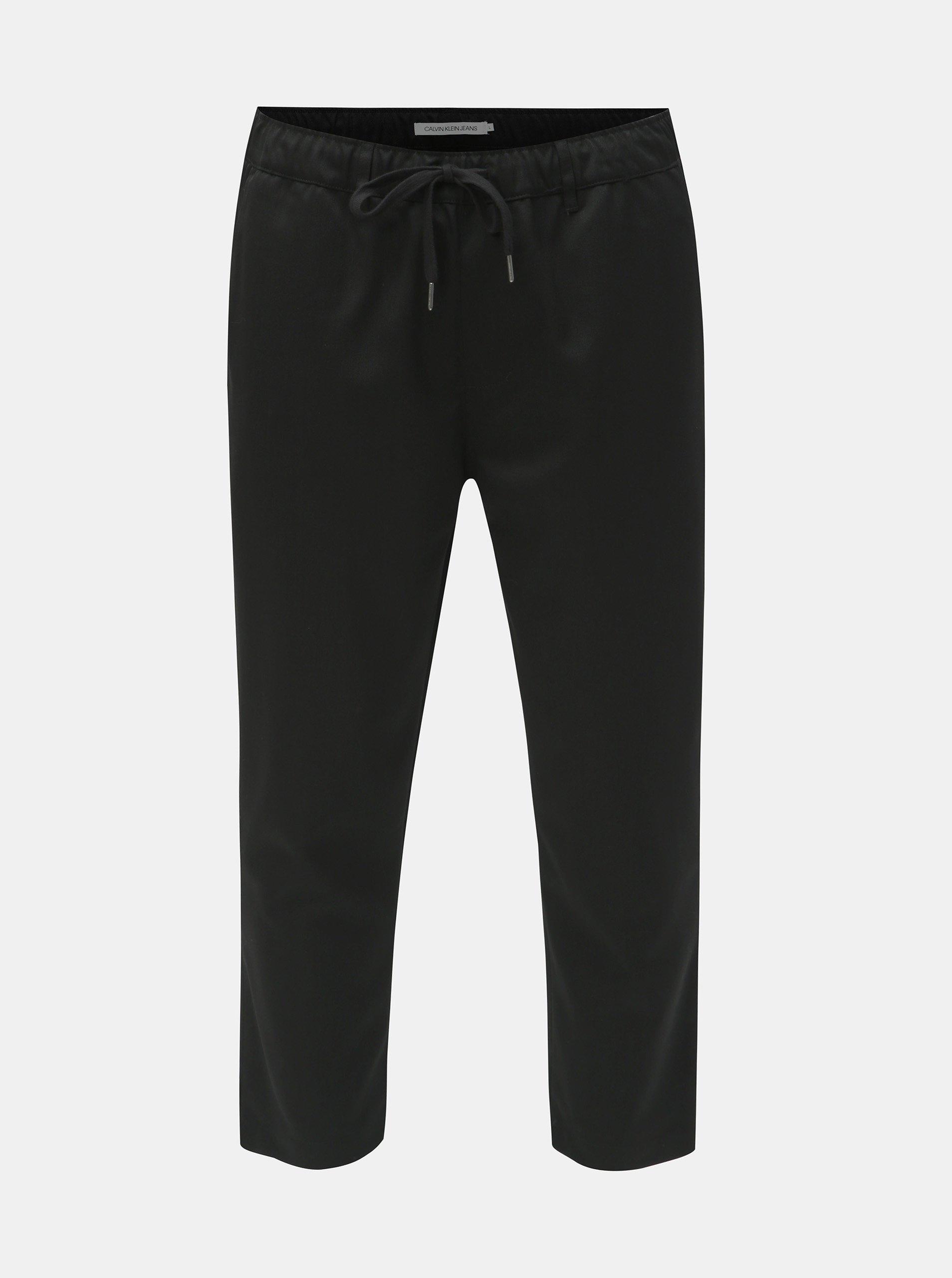 Černé pánské zkrácené kalhoty s příměsí vlny Calvin Klein Jeans