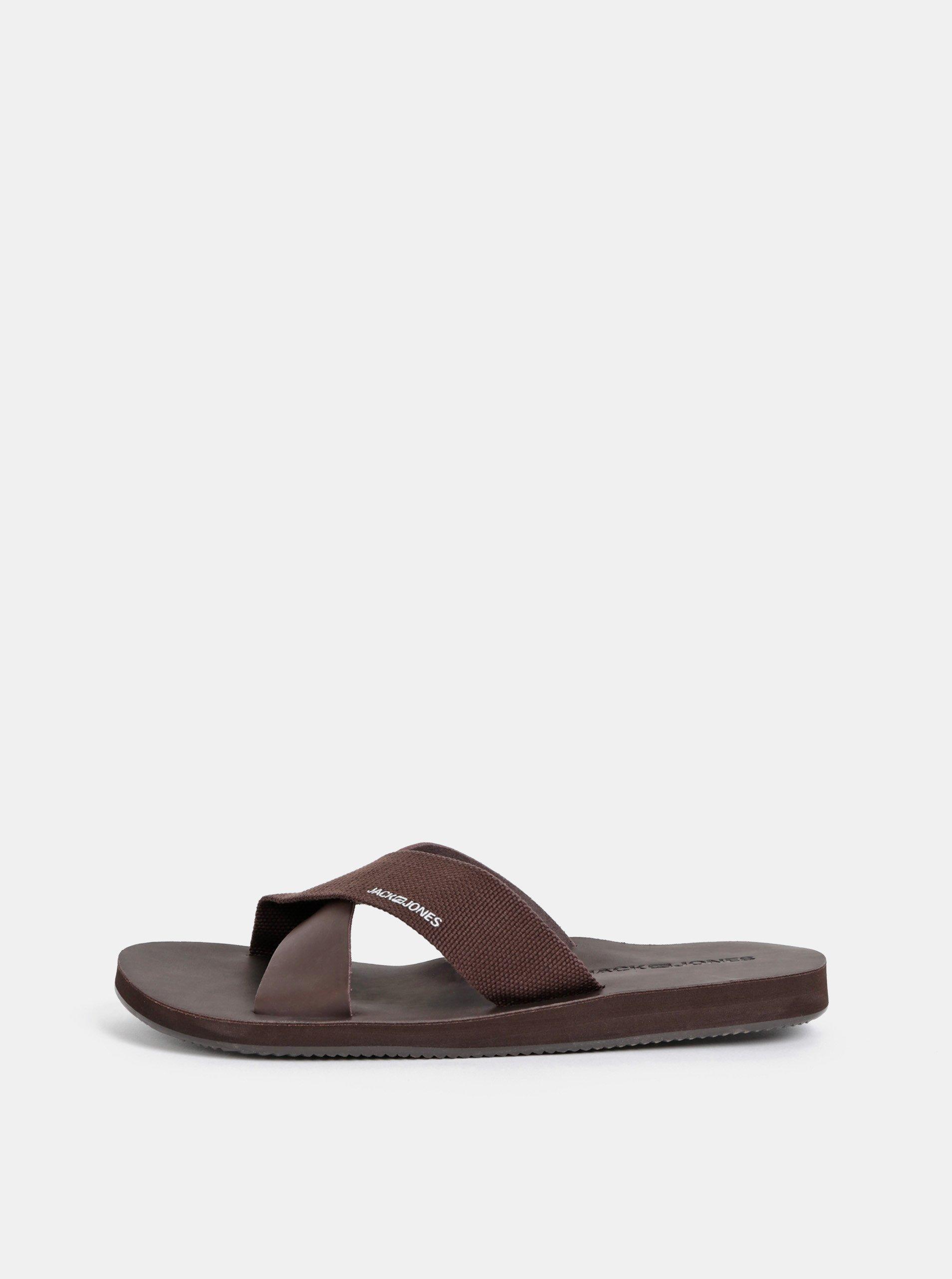 Tmavě hnědé pánské pantofle Jack & Jones Nova