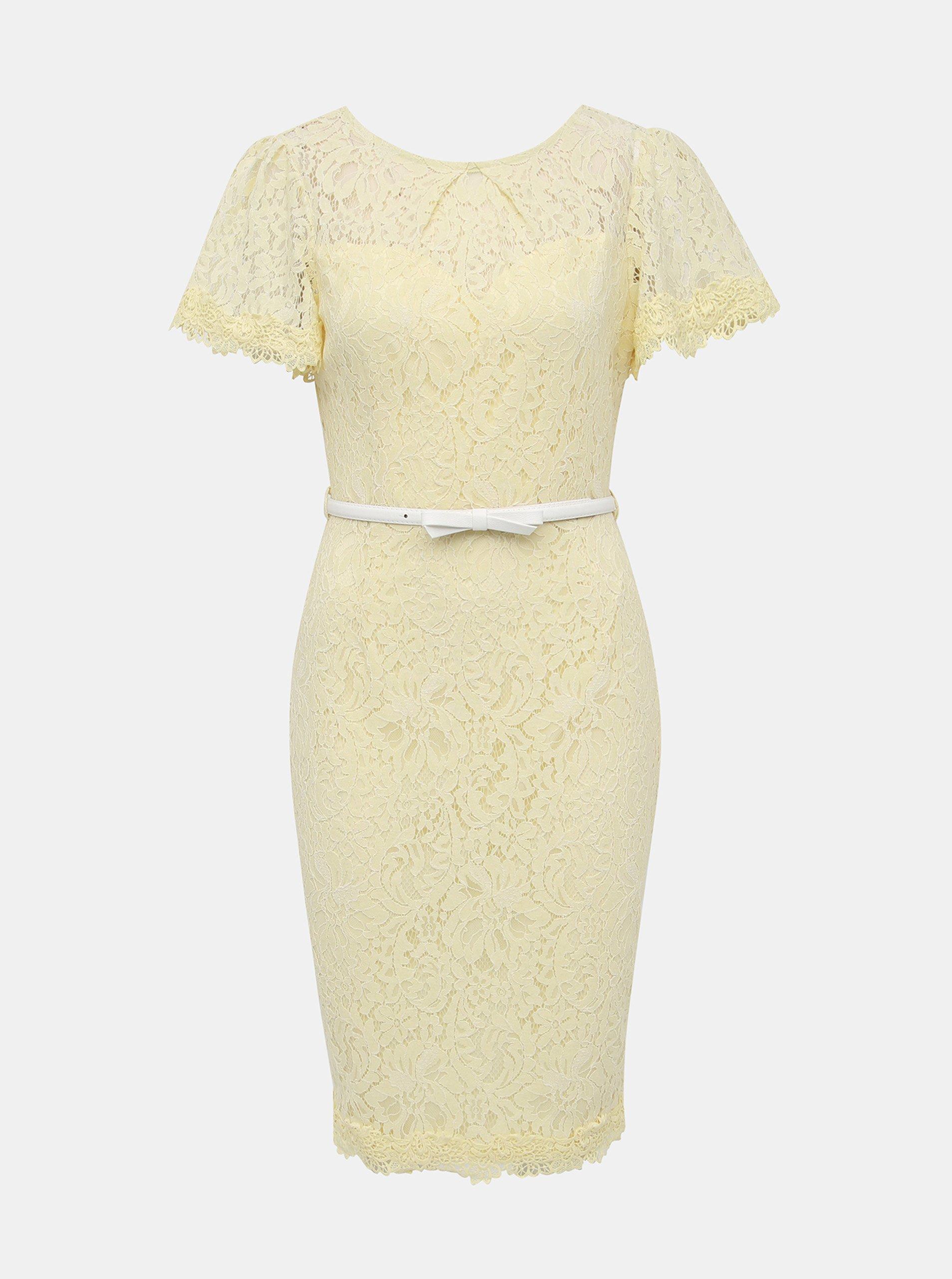 3fe9333ff Světle žluté krajkové pouzdrové šaty s páskem Dorothy Perkins