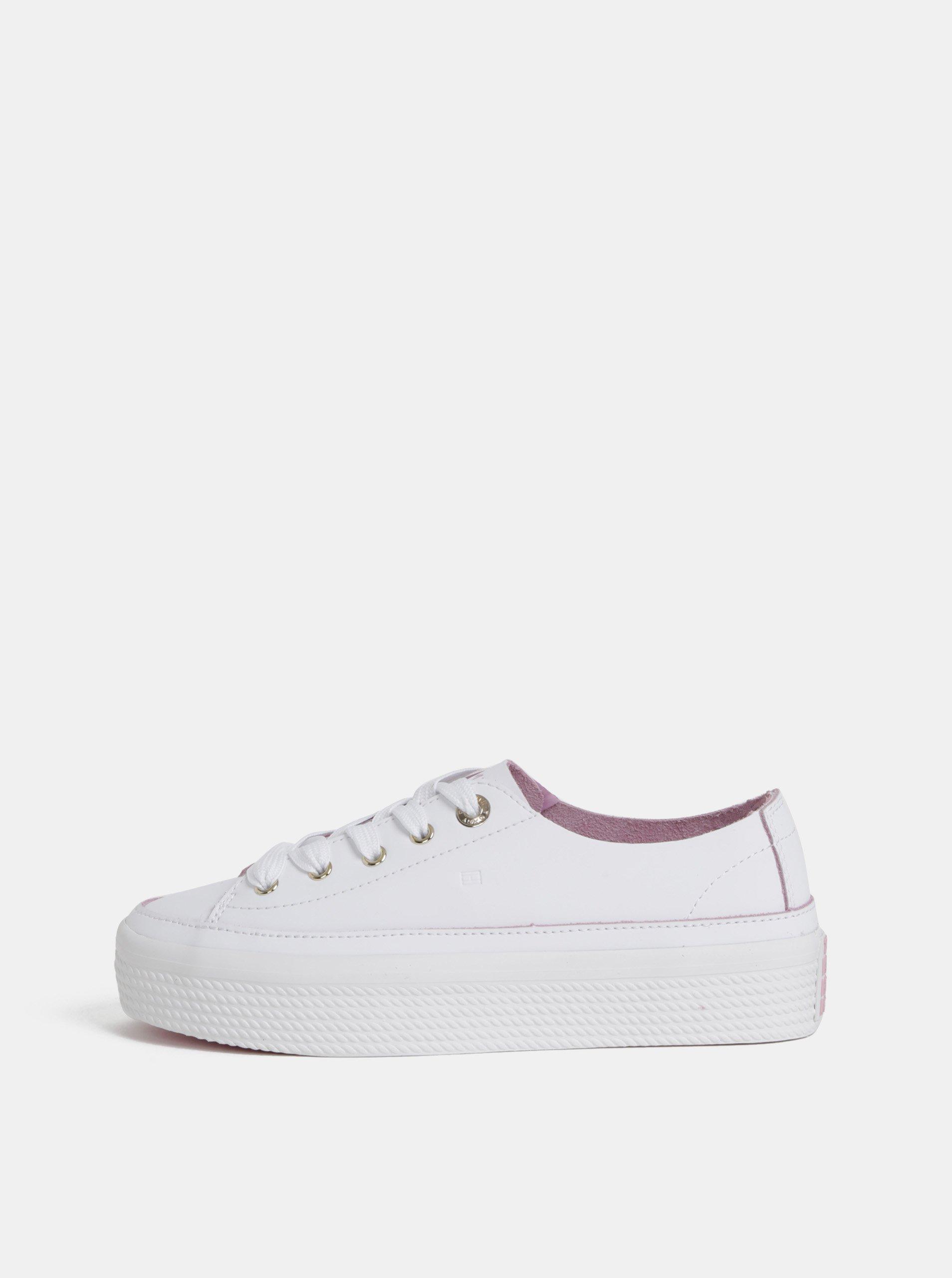 Bílé dámské kožené tenisky na platformě Tommy Hilfiger