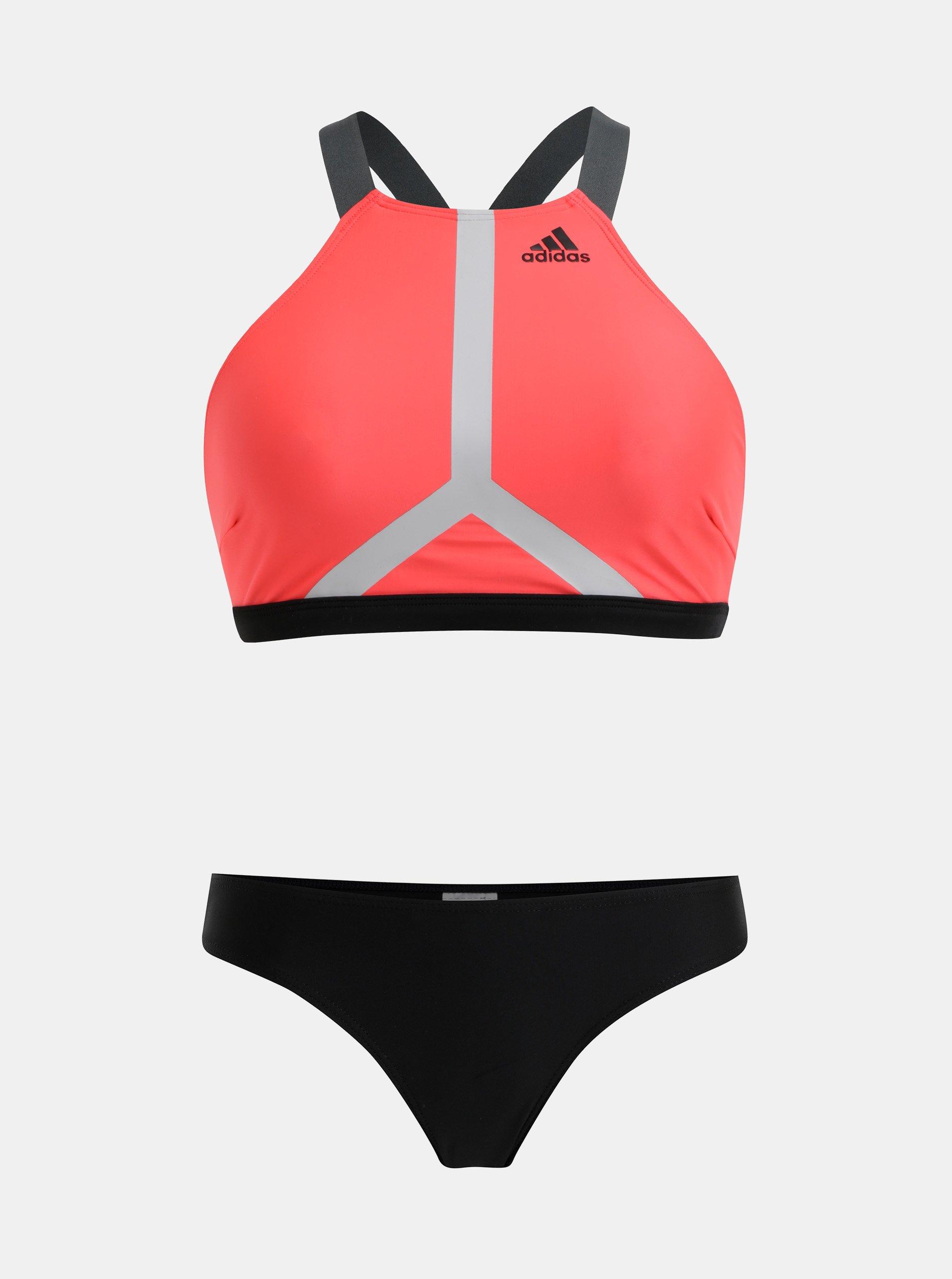 Čierno-rúžové dámske dvojdielne plavky adidas Performance