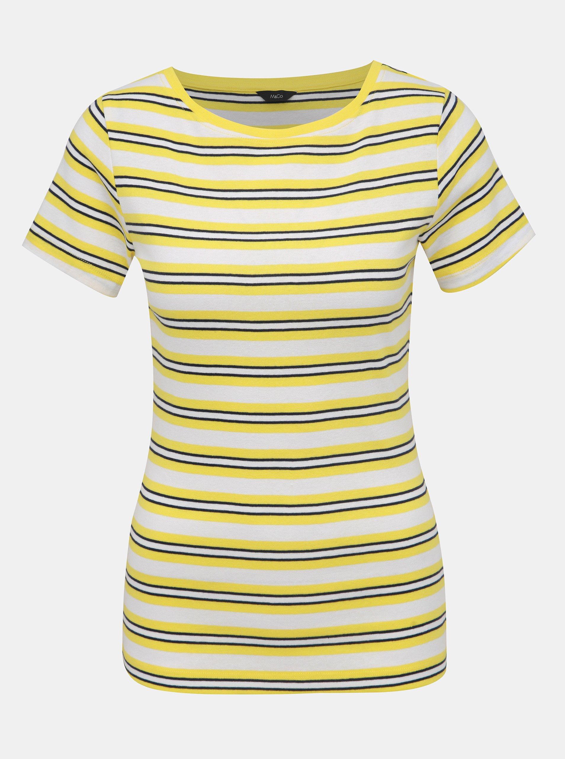 Žlto-biele dámske pruhované tričko M&Co