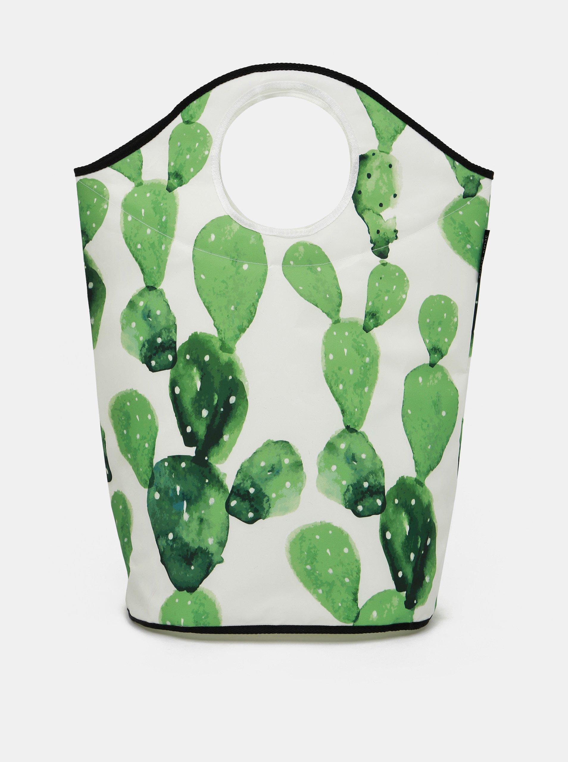 Zeleno-biely vzorovaný kôš na prádlo Butter Kings