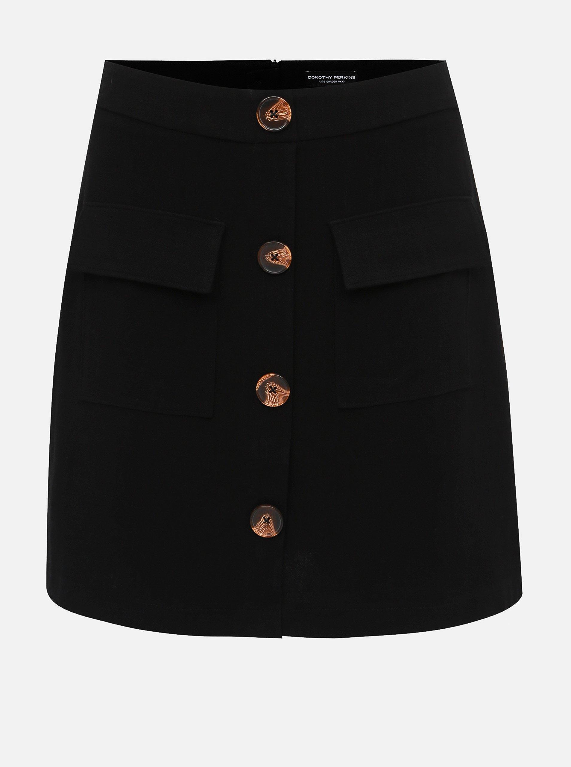 Černá sukně s příměsí lnu Dorothy Perkins
