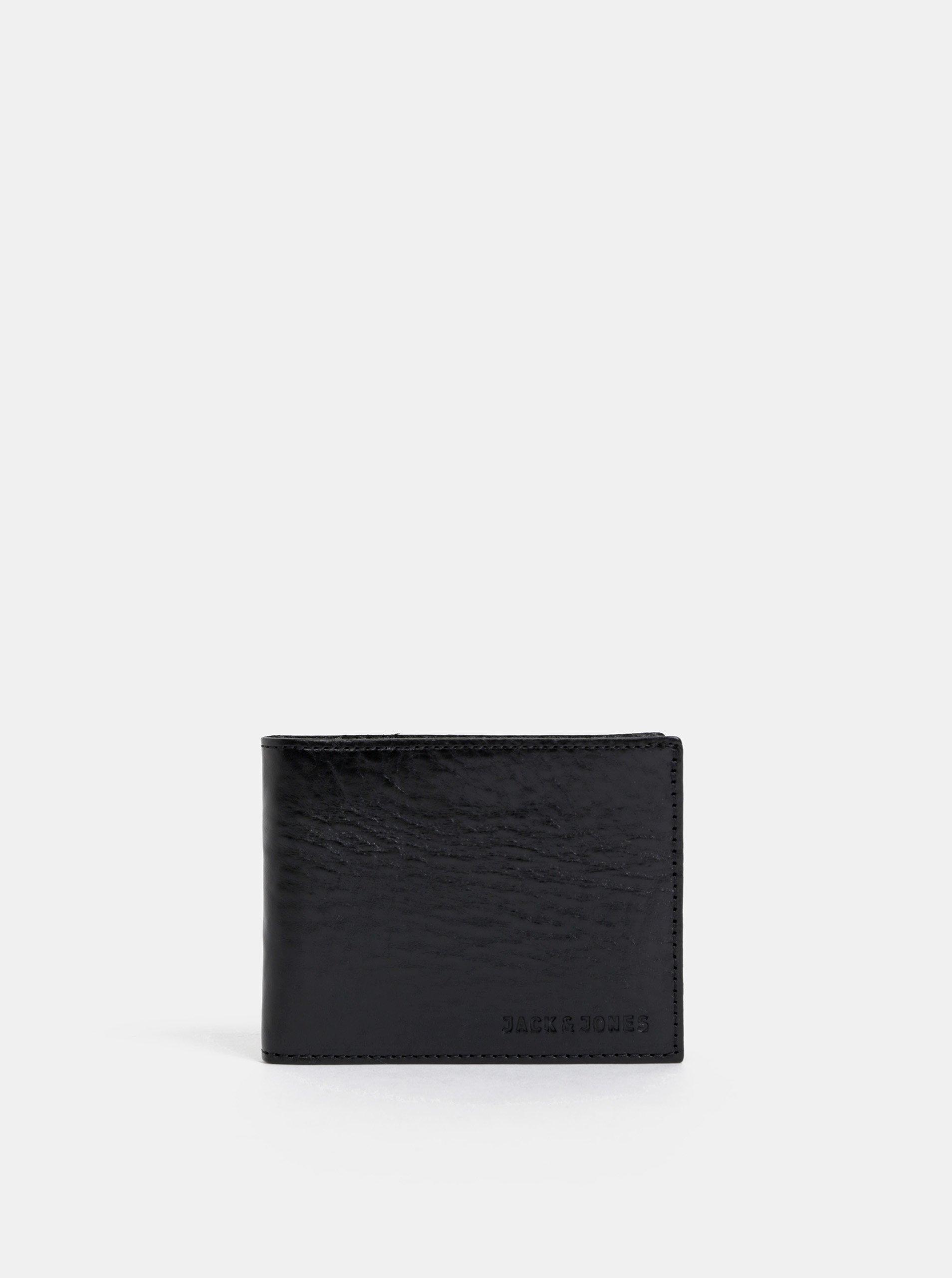 Čierna kožená peňaženka Jack & Jones Denim