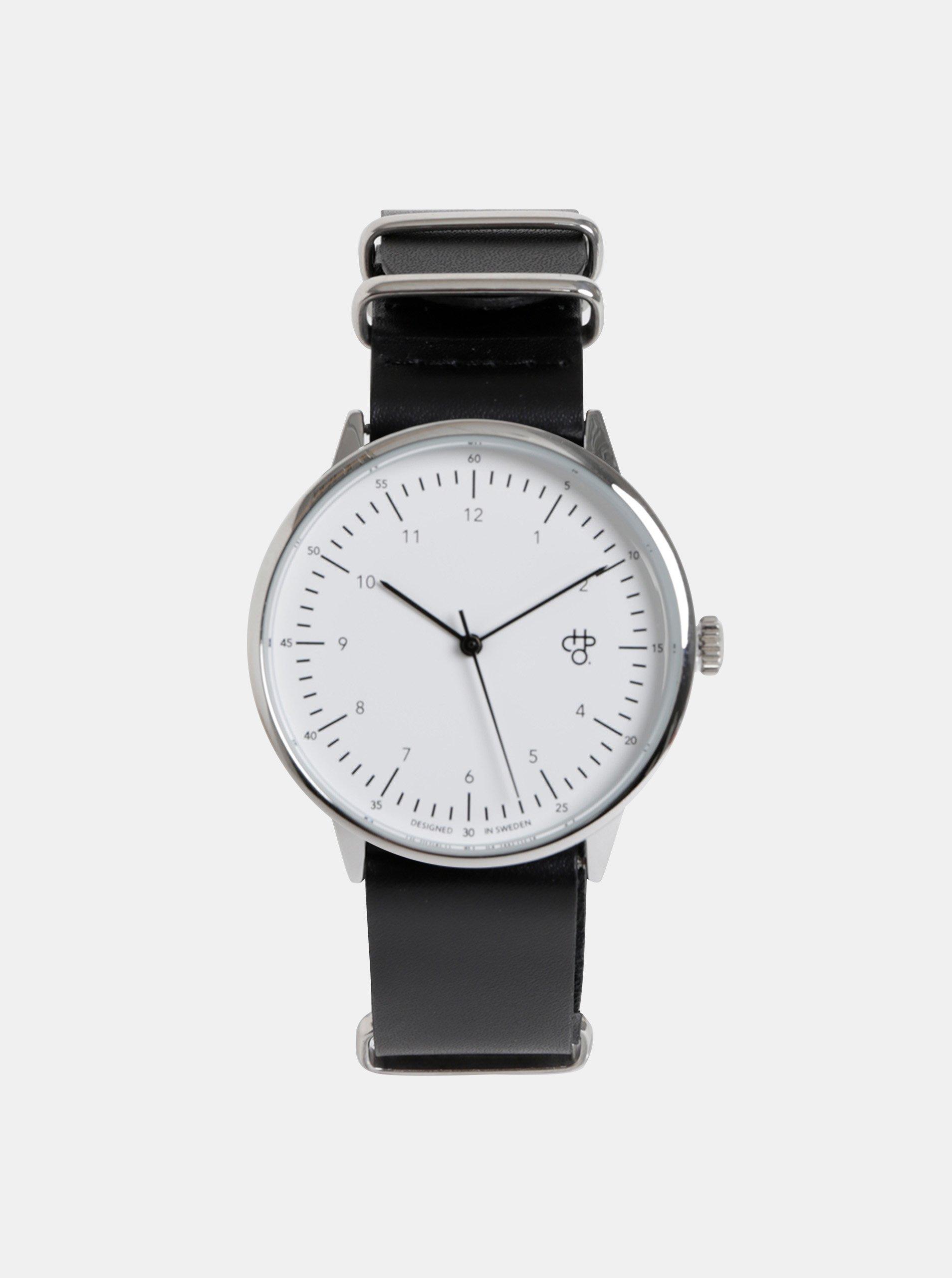 666ec9333 Unisex hodinky ve stříbrné barvě s černým koženým páskem CHPO Harold