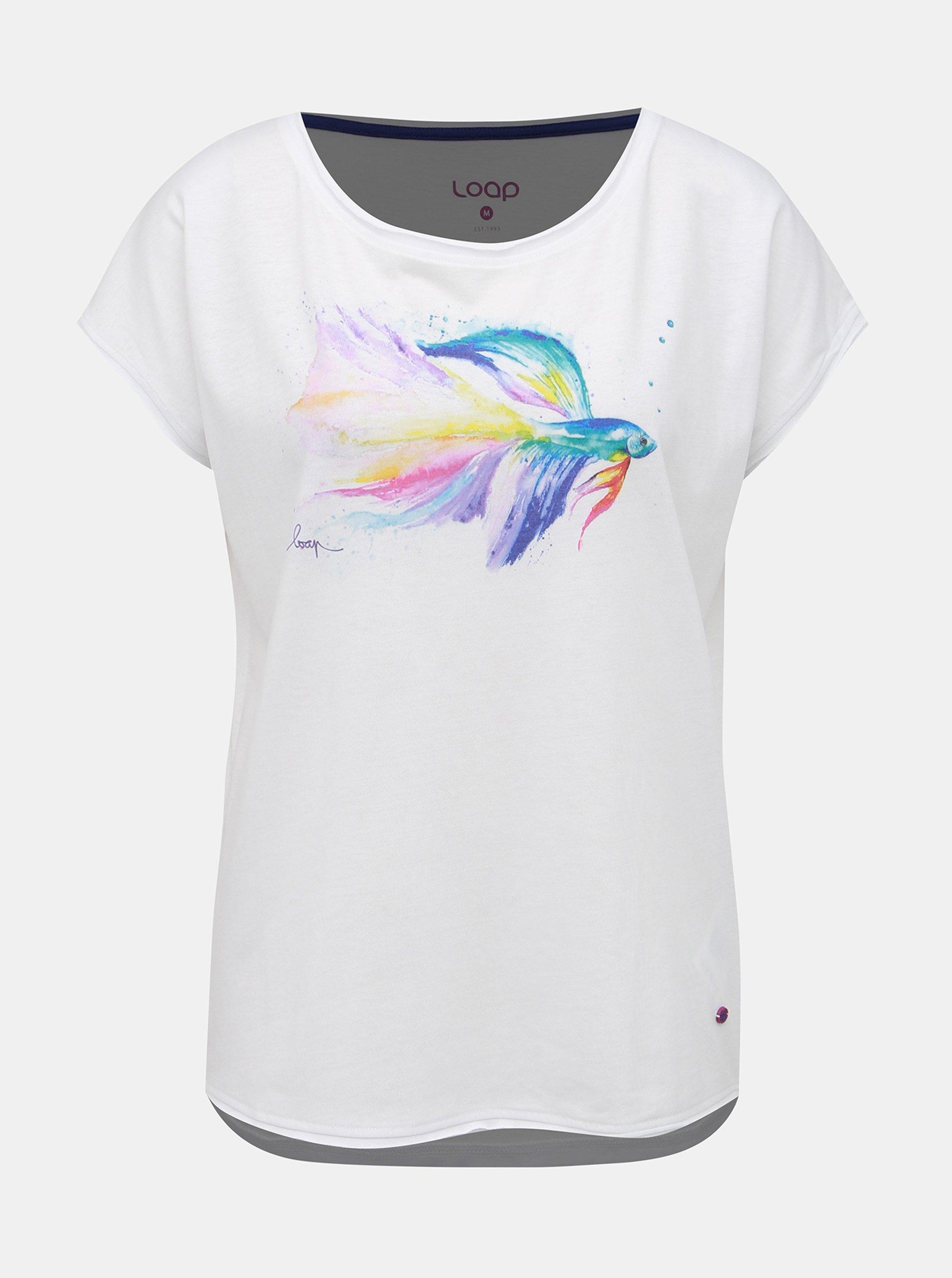 Fotografie Bílé dámské tričko s potiskem LOAP Aletta