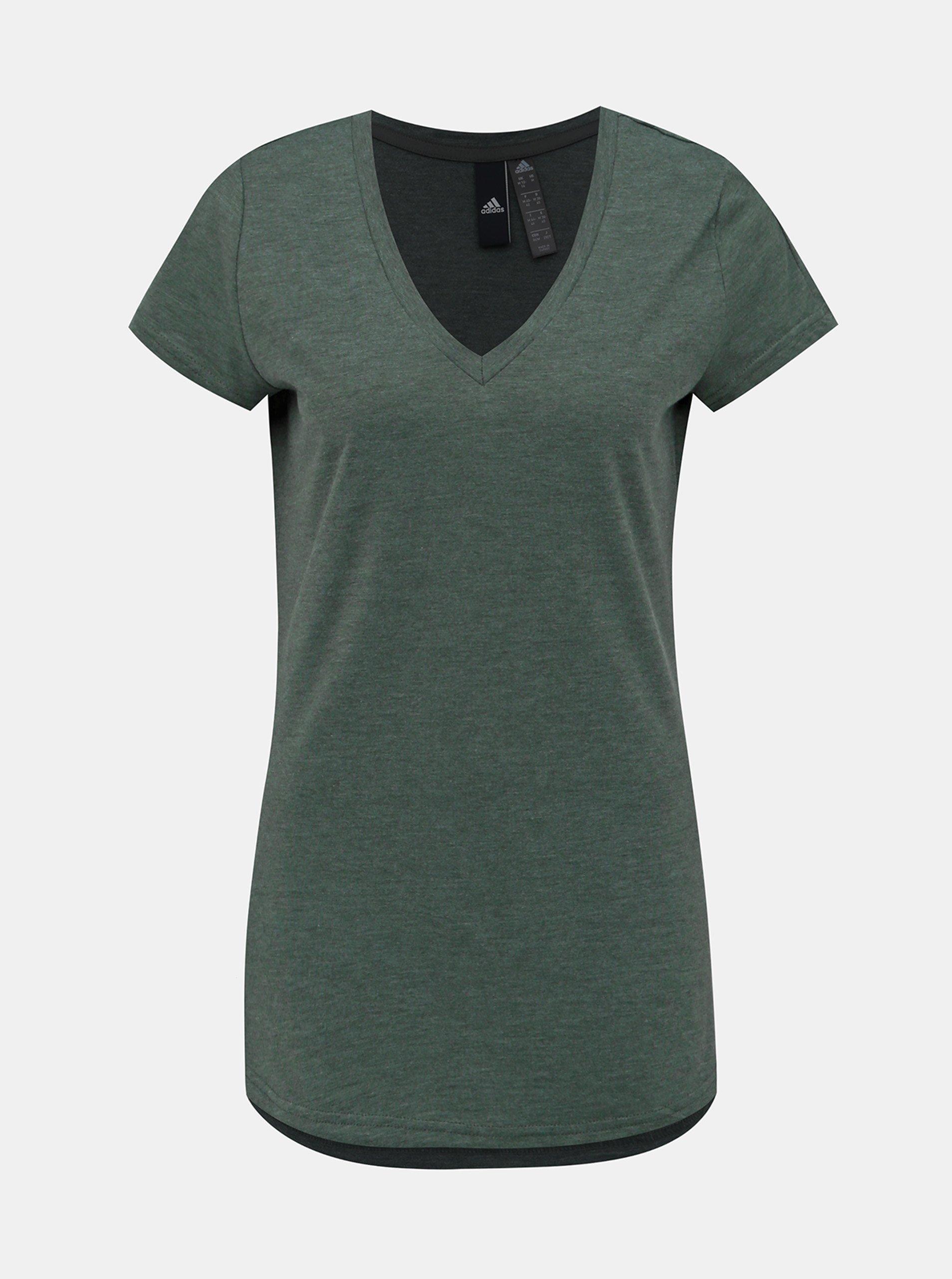 Zelené dámske tričko s potlačou na chrbte adidas Performance
