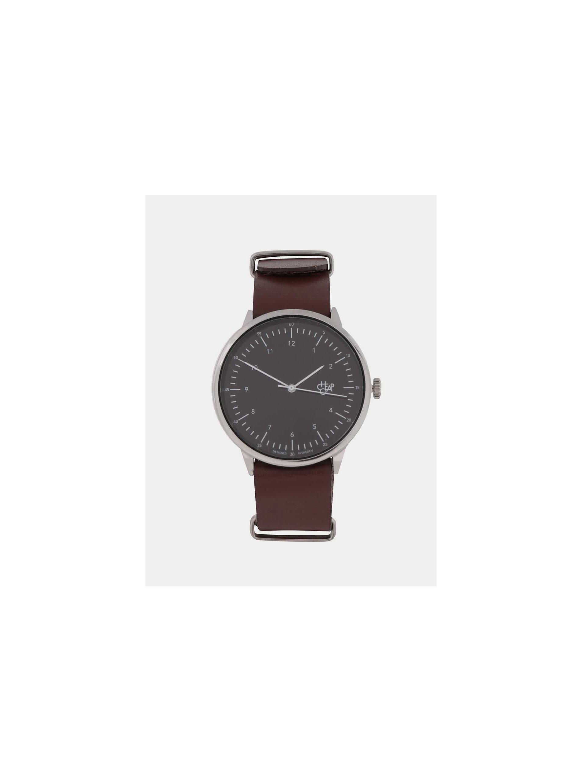 2891aa1d7 Pánske hodinky v striebornej farbe s hnedým koženým remienkom CHPO Harold