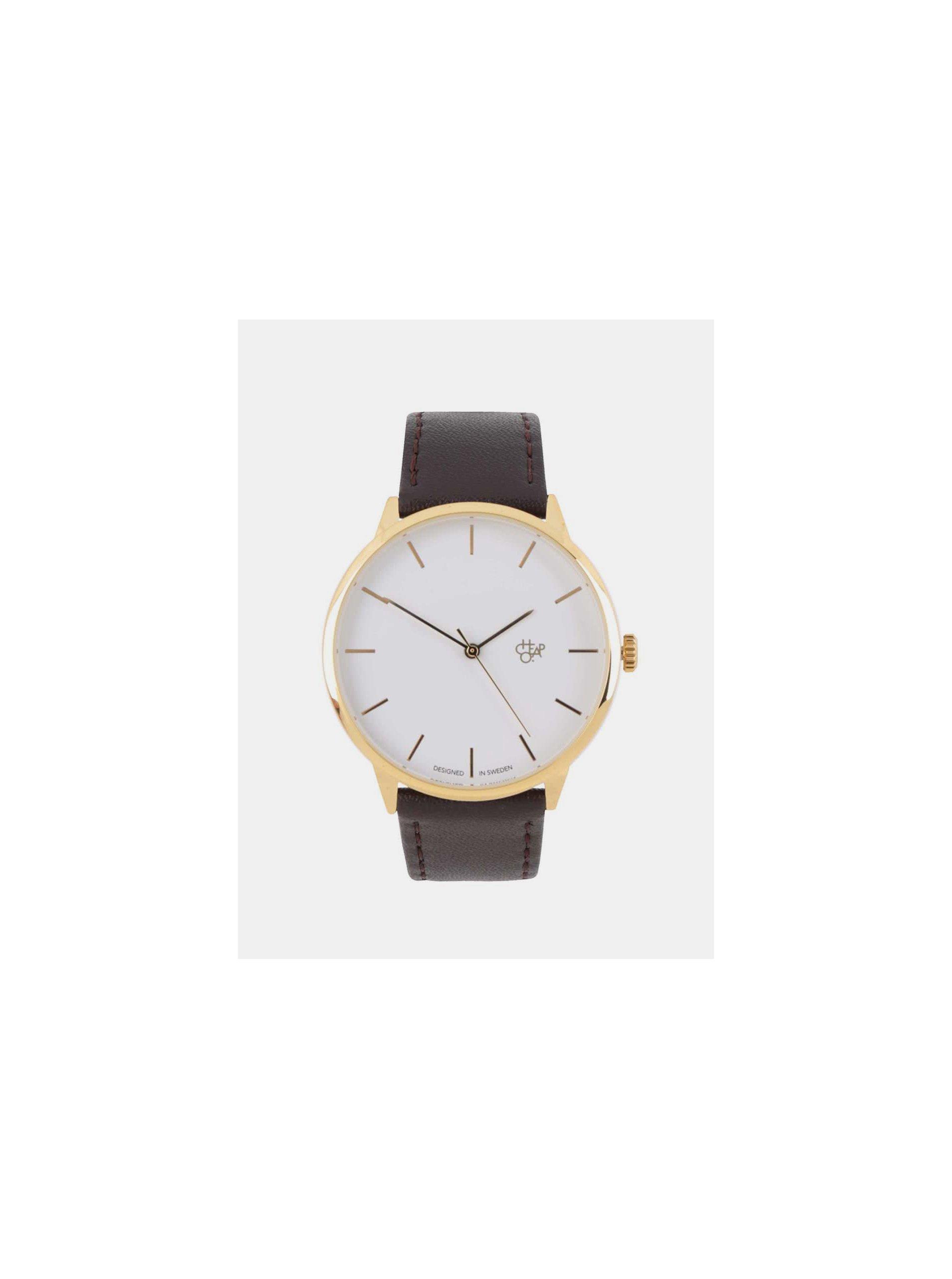 f2272cfbd Unisex hodinky ve zlaté barvě s tmavě hnědým páskem z veganské kůže CHPO  Khorshid Gold