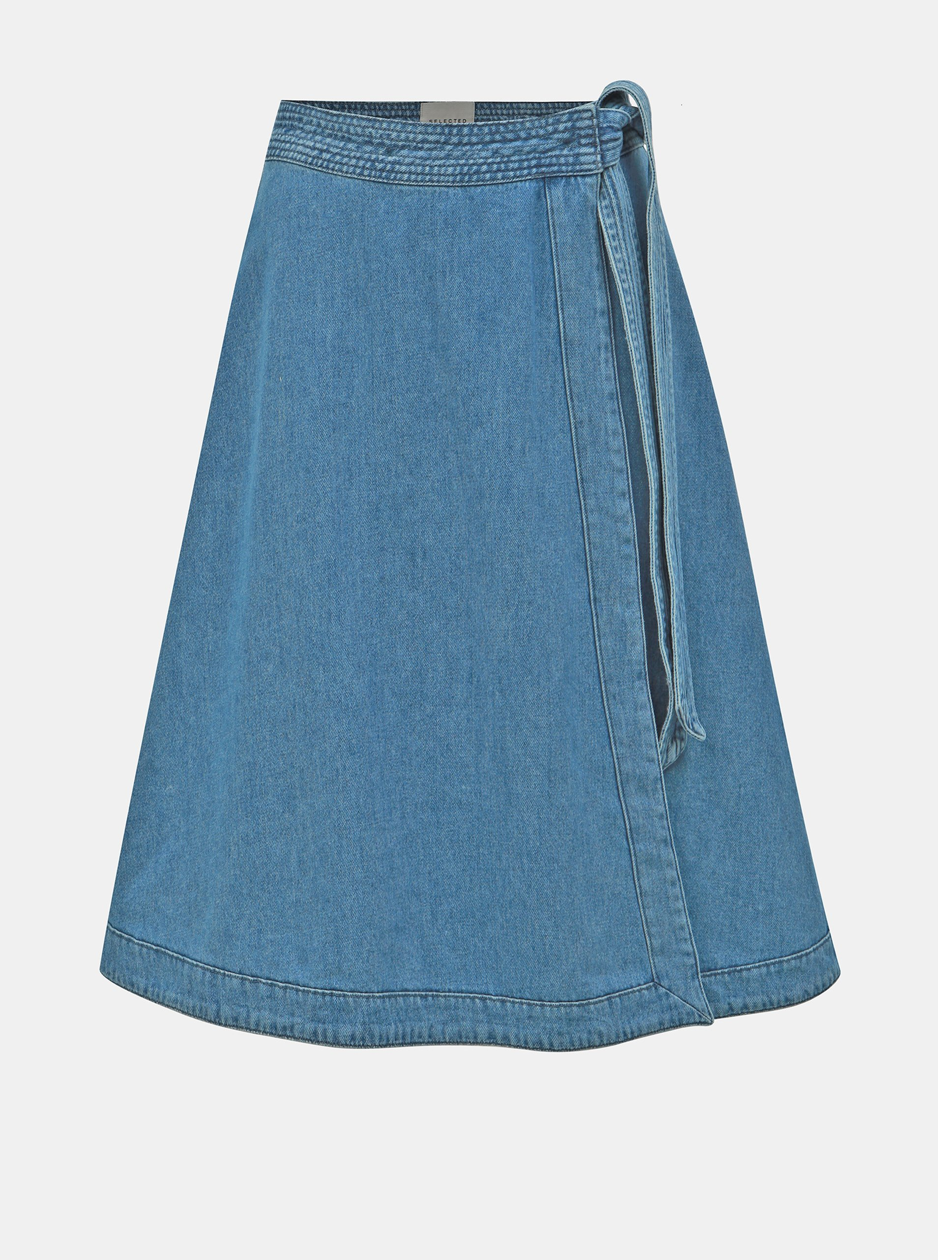 Modrá džínová zavinovací sukně Selected Femme Jenner Selected Femme