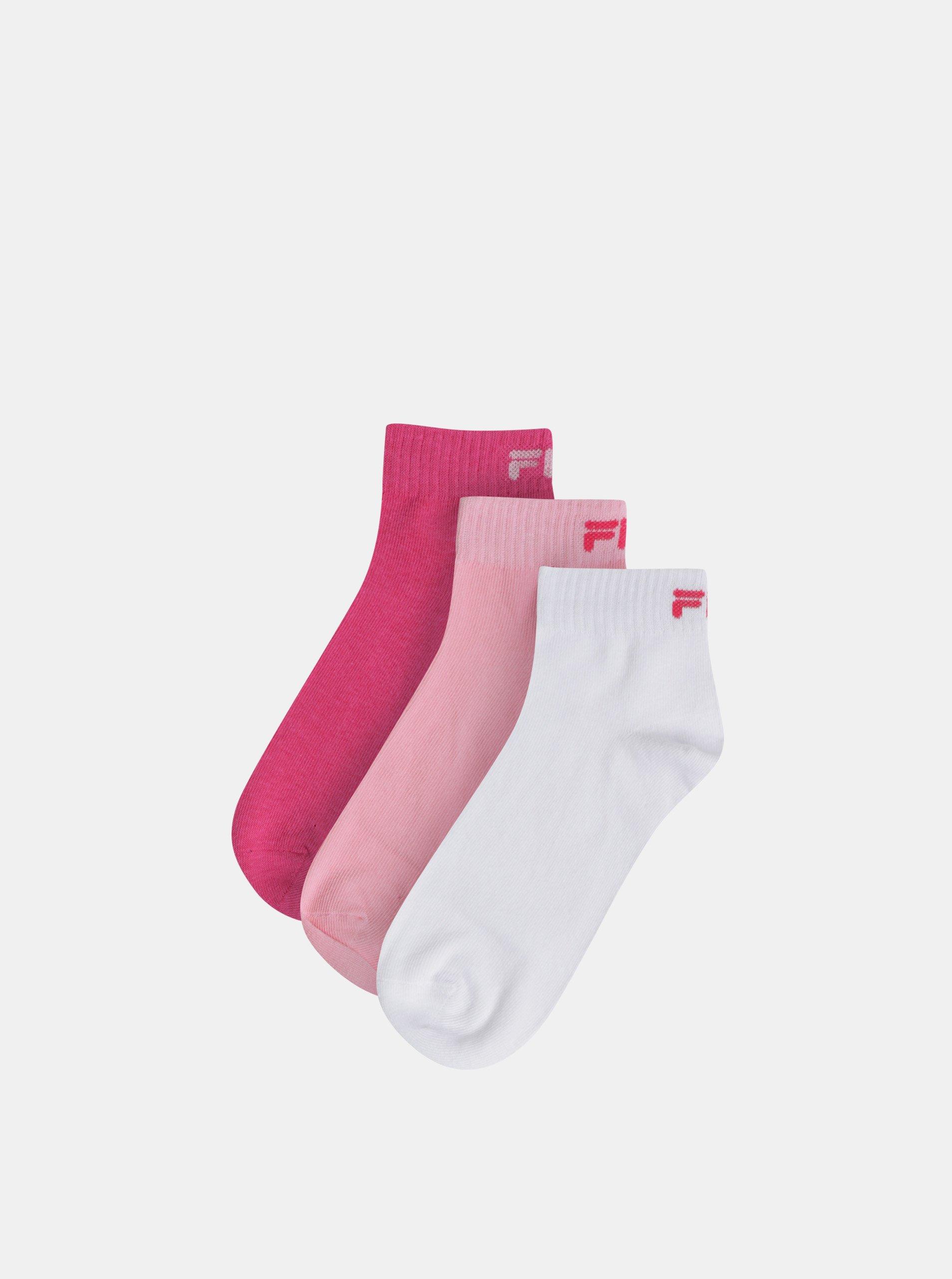 Fotografie Sada tří párů dámských kotníkových ponožek v růžové a bílé barvě FILA
