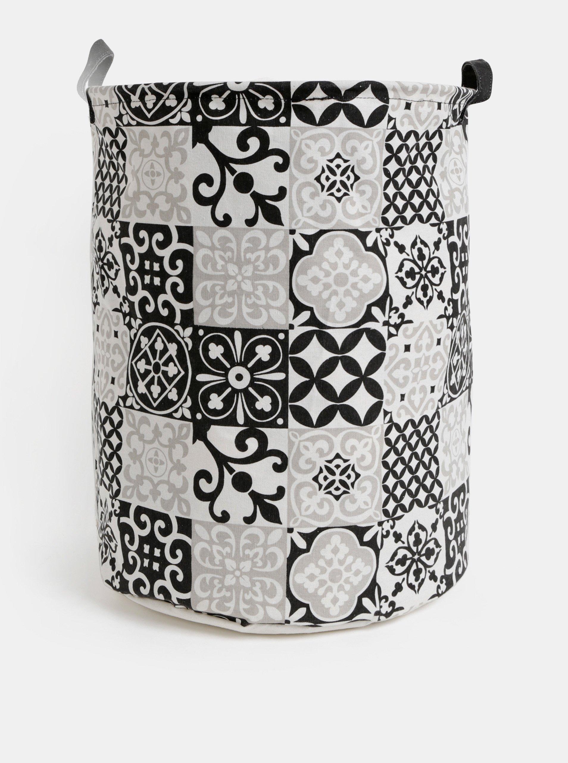 Čierno-biely vzorovaný kôš na prádlo SIFCON