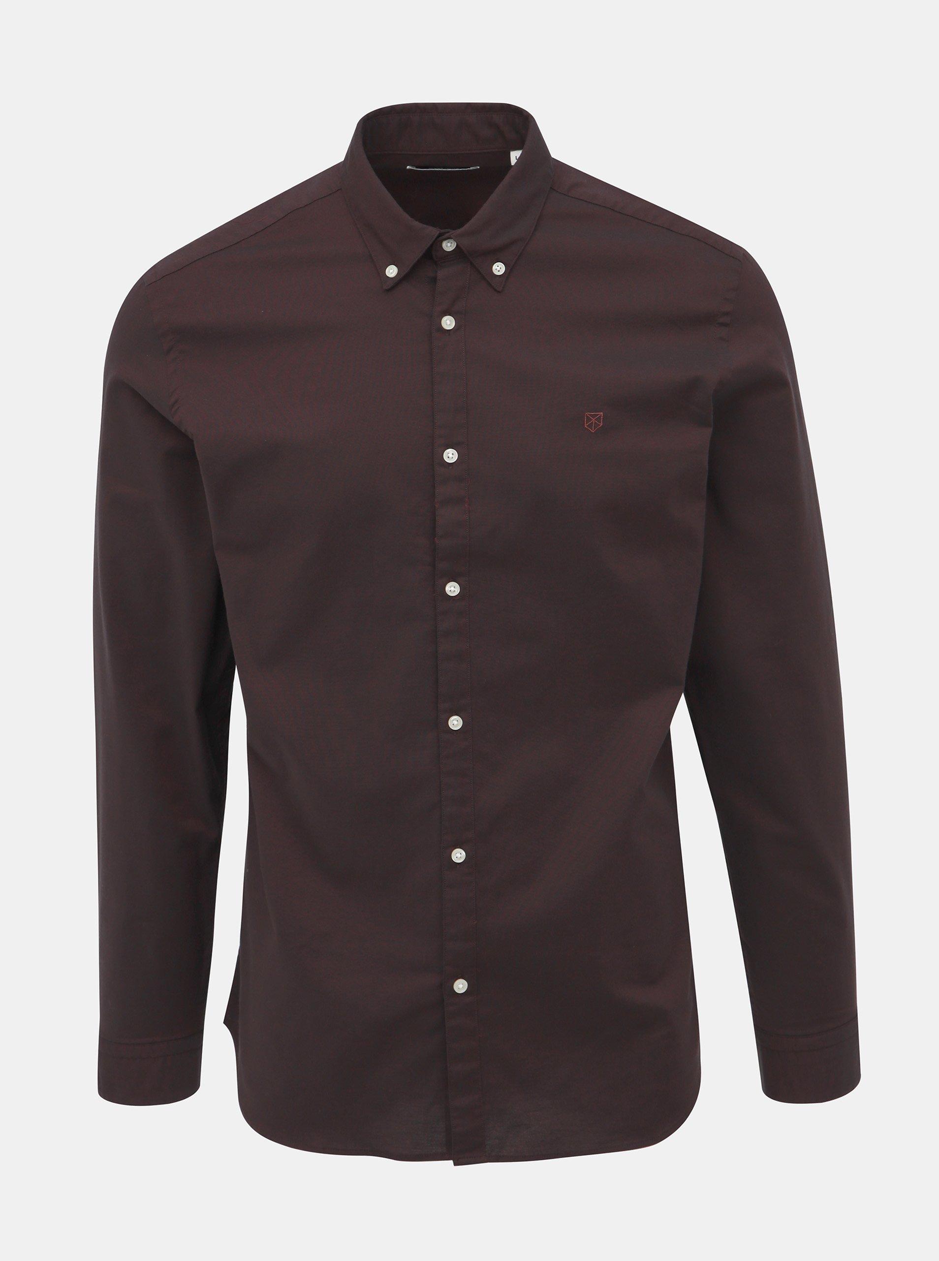Tmavě fialová slim fit košile Jack & Jones Logo