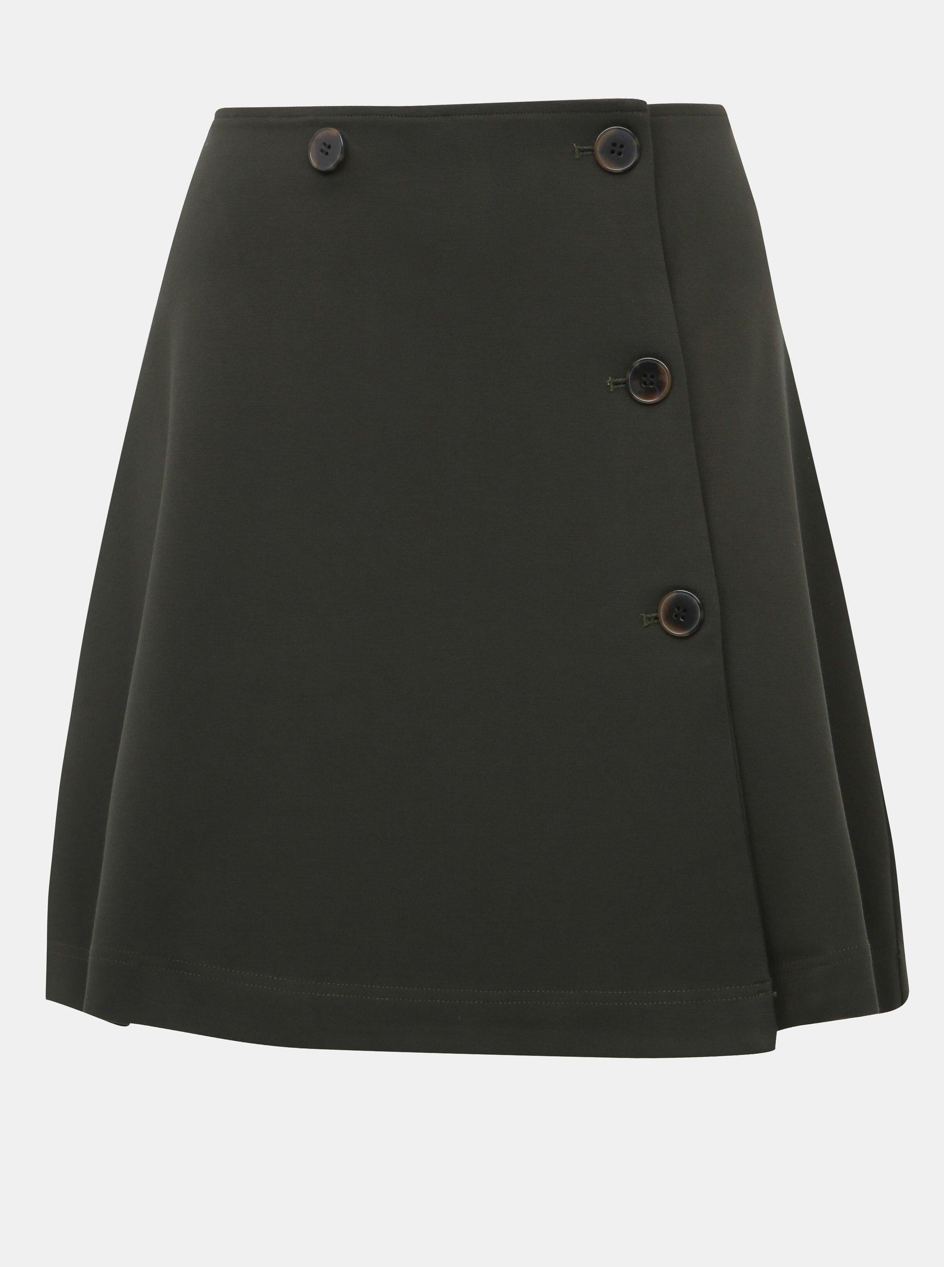 Tmavě zelená zavinovací sukně Selected Femme Nouelle