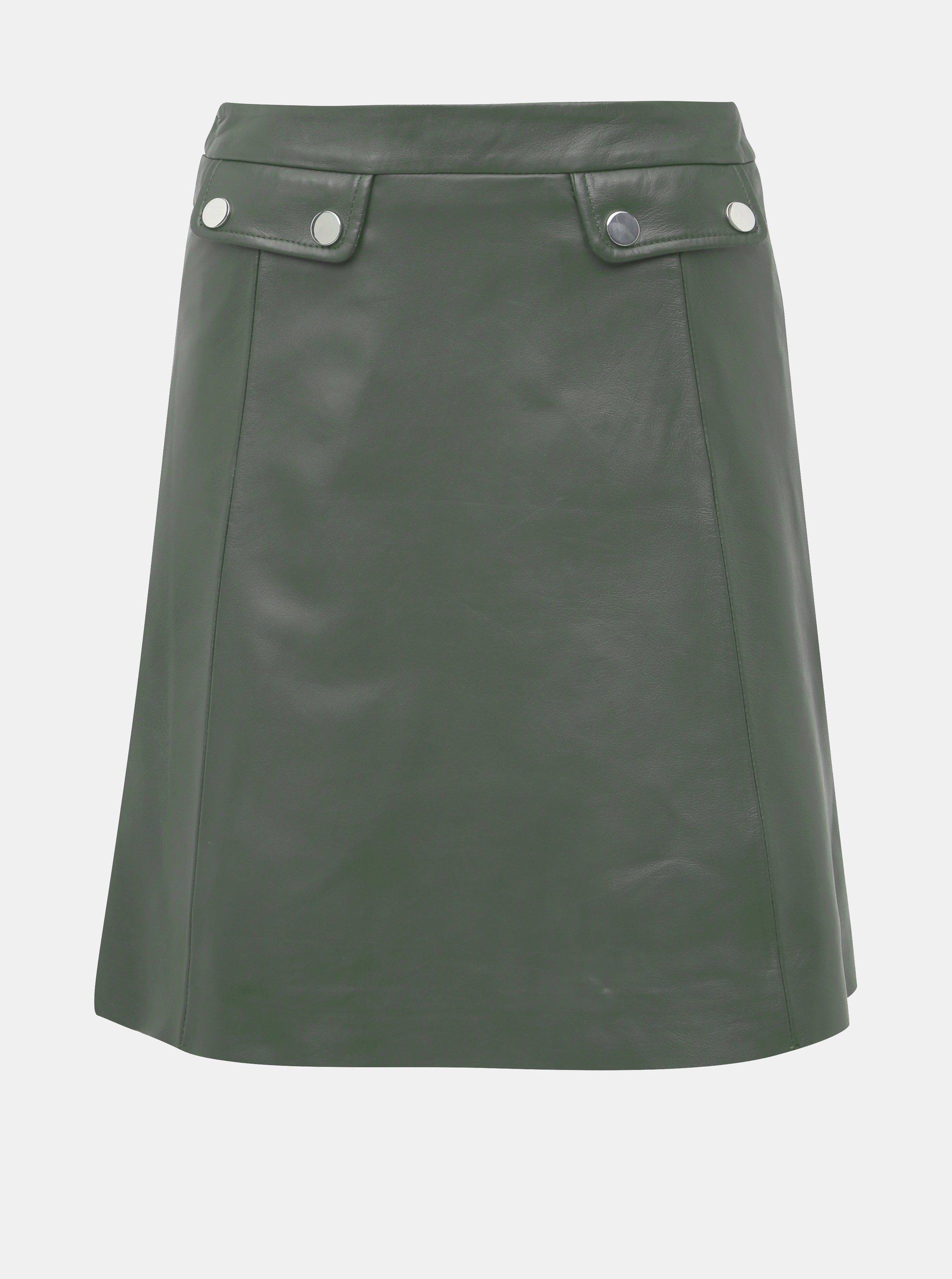 Tmavě zelená kožená sukně Selected Femme Mina