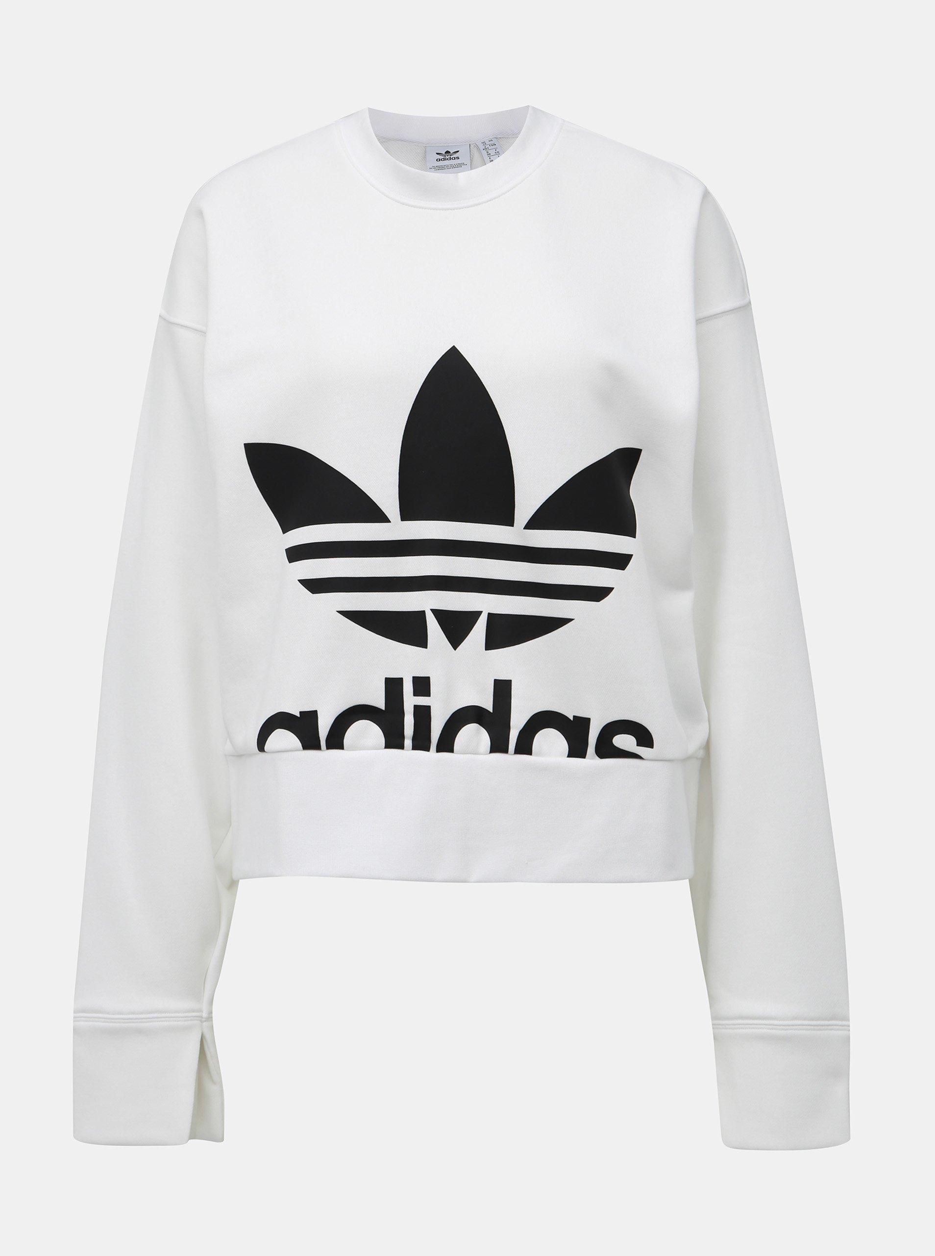 Biela dámska mikina s rozparkom na chrbte adidas Originals