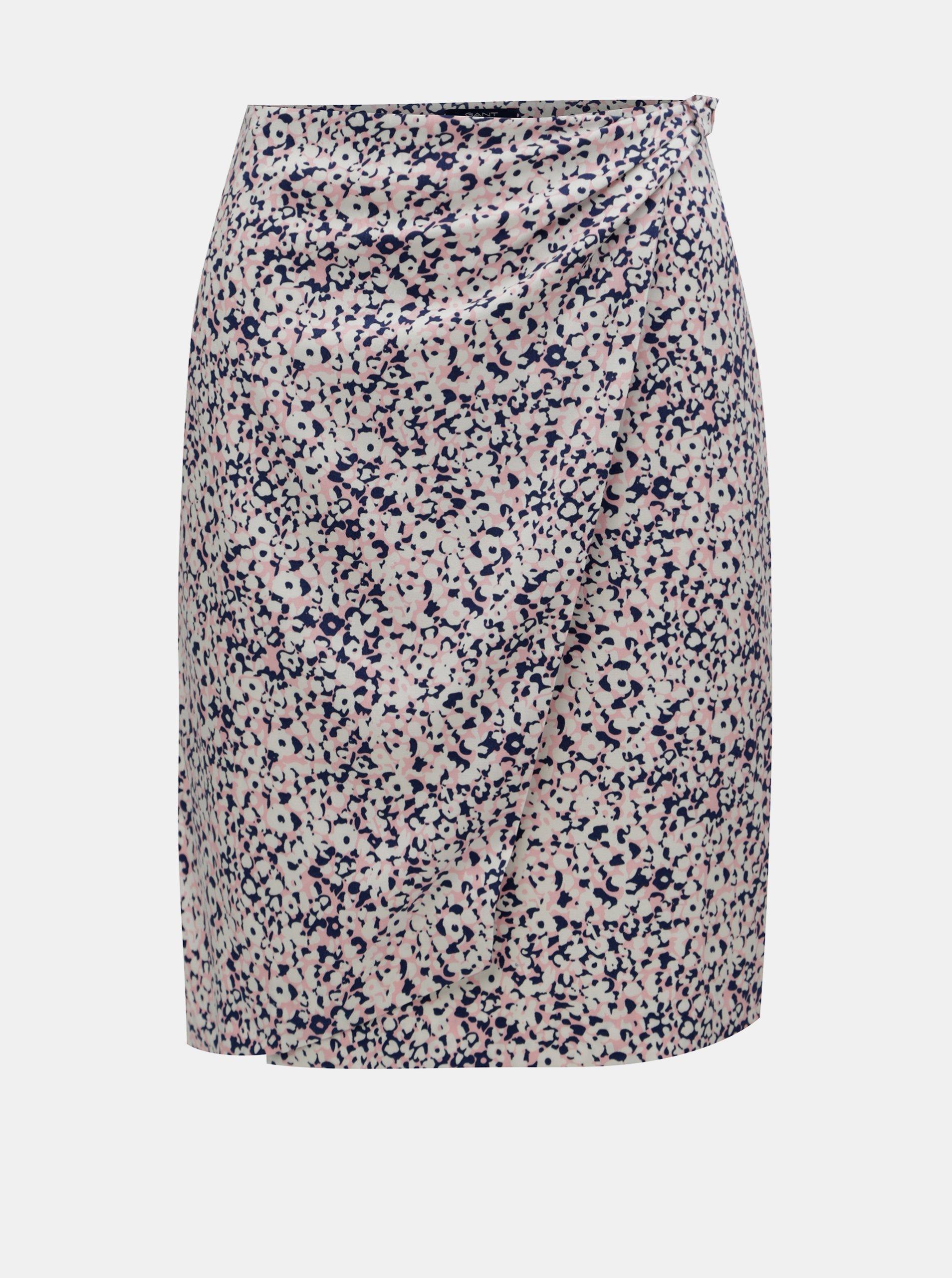 Růžovo-krémová vzorovaná zavinovací sukně GANT Gant