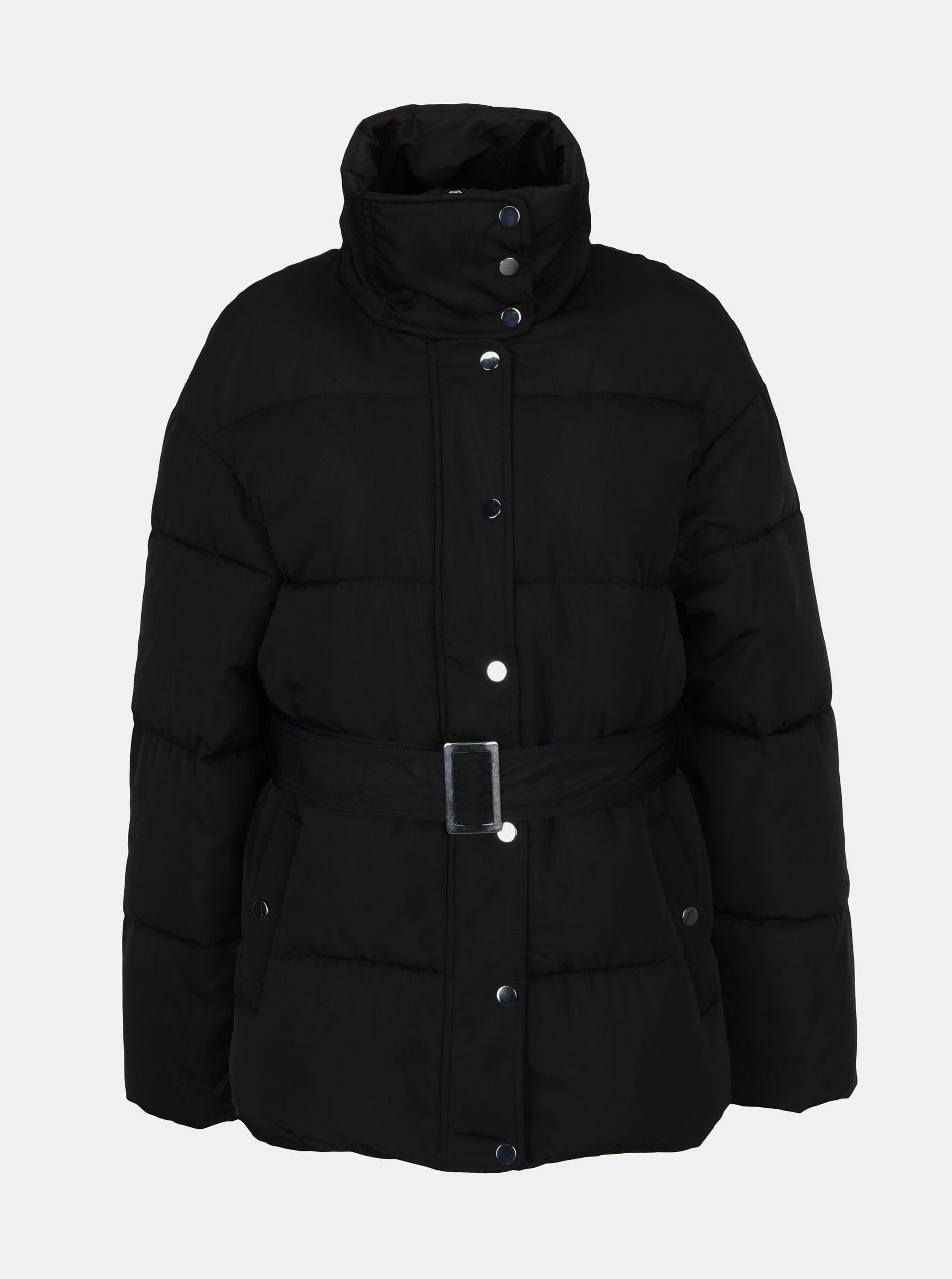 Čierna prešívaná bunda s opaskom Miss Selfridge