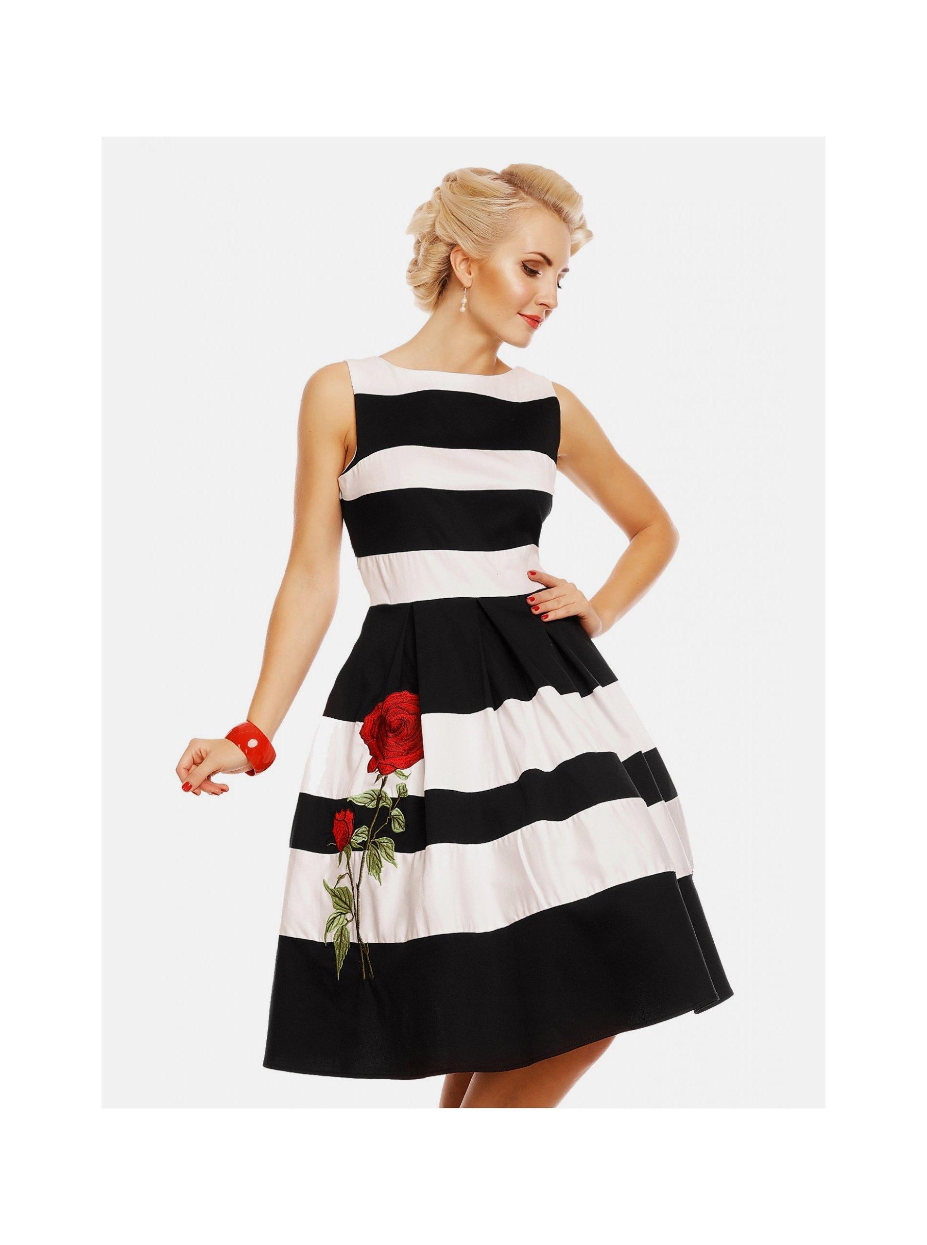 Černo-bílé pruhované šaty Dolly & Dotty Annie Dolly & Dotty