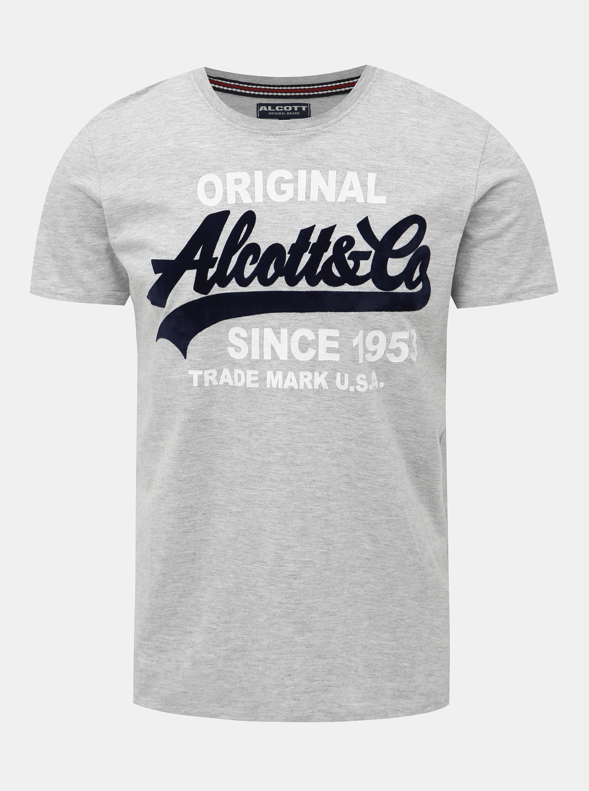 Šedé žíhané pánske tričko Alcott