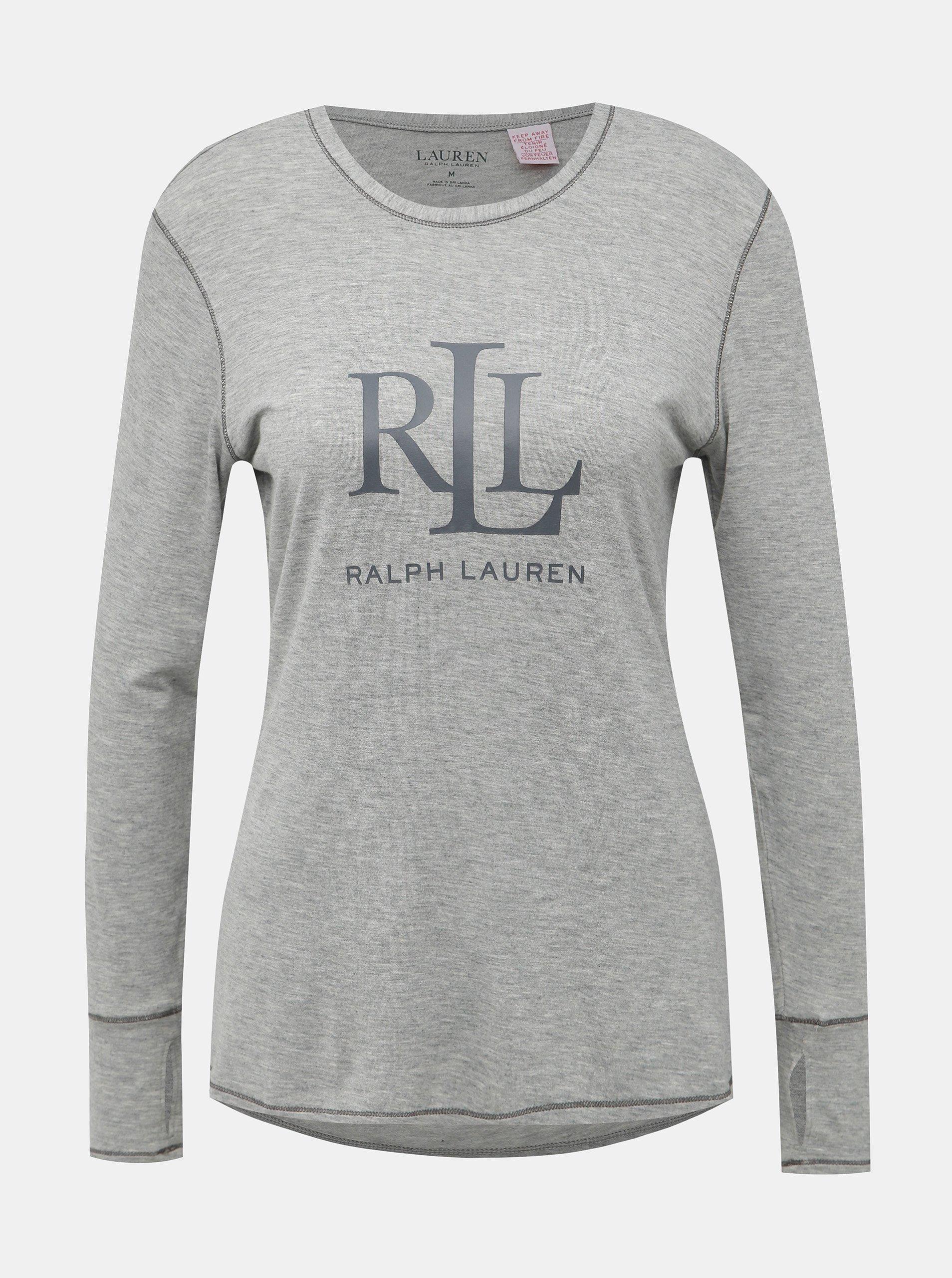 Šedé dámske pyžamové tričko s potlačou Lauren Ralph Lauren