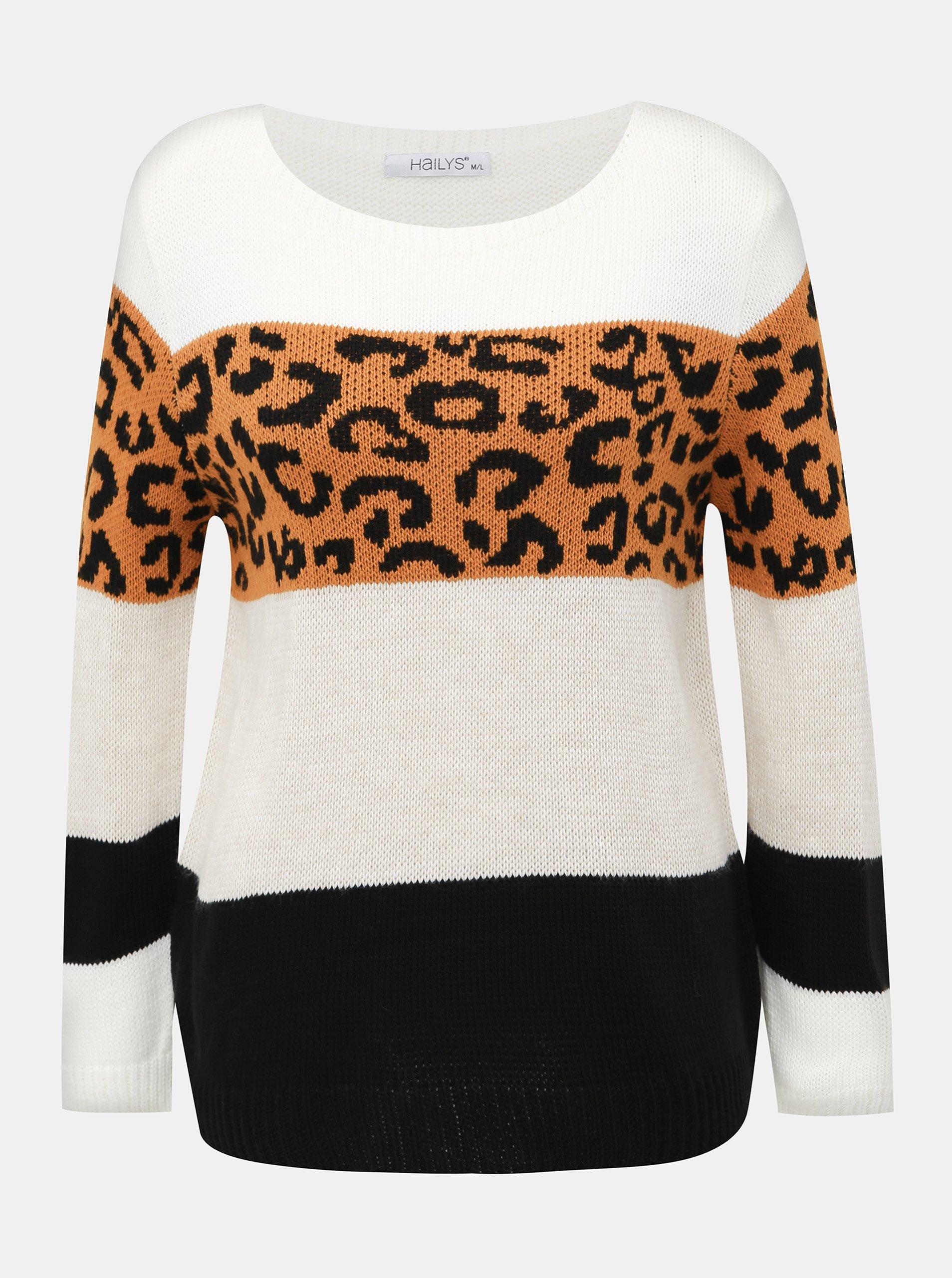 Fotografie Bílý dámský svetr s leopardím vzorem Haily´s Sloan