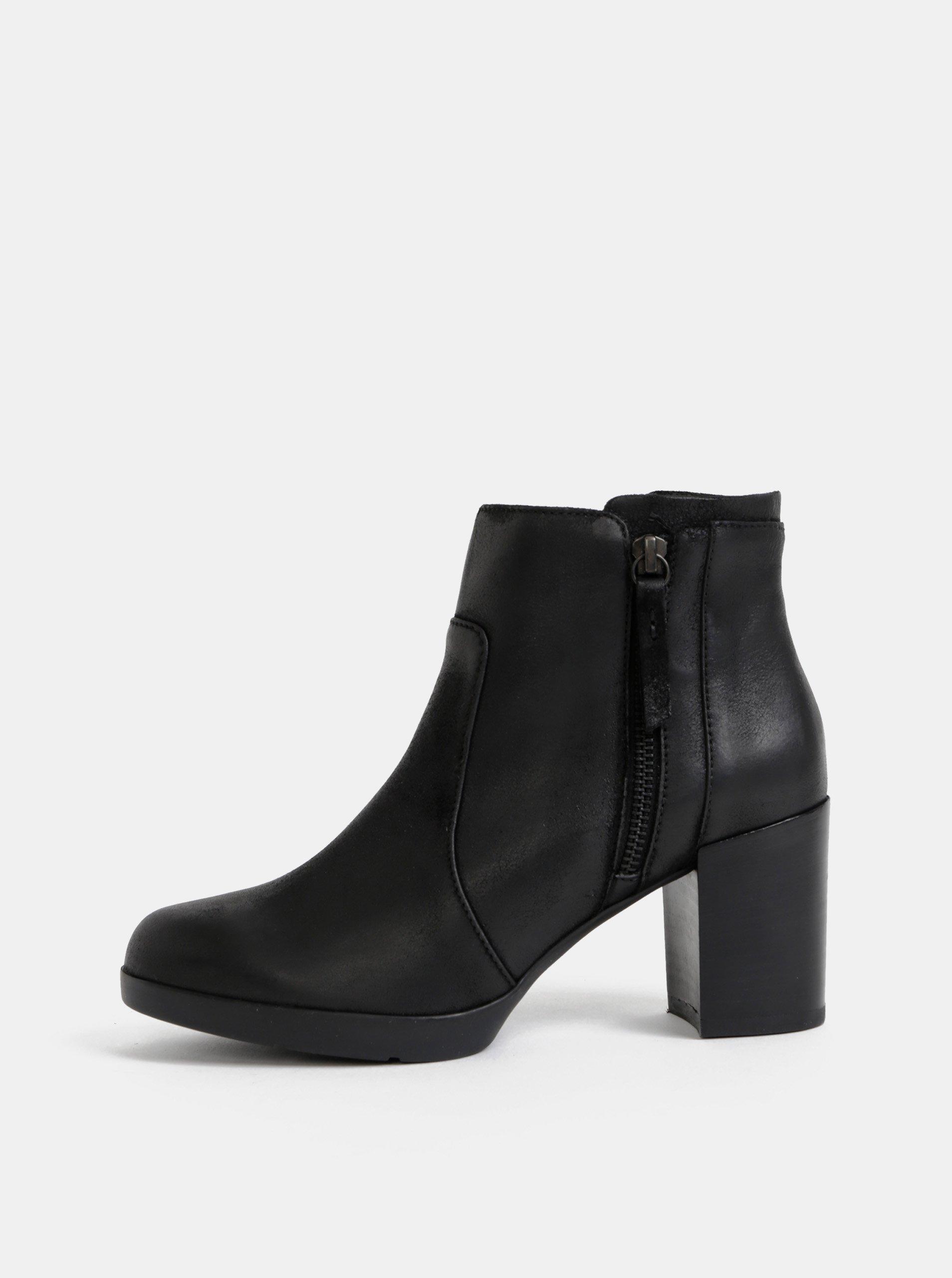 Čierne dámske kožené kotníkové topánky Geox Aneeka