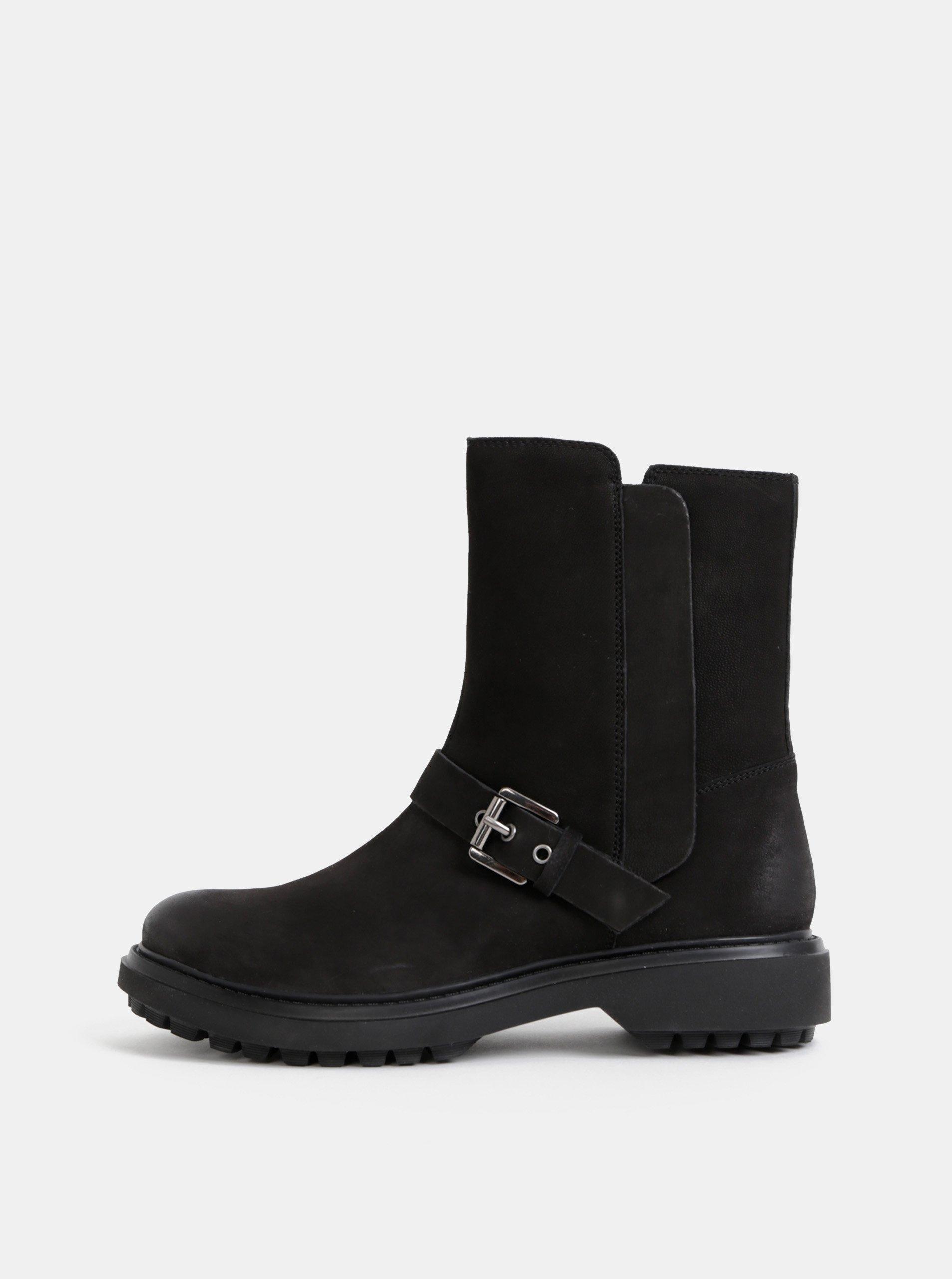 Černé dámske kožené kotníkové topánky Geox Sheely