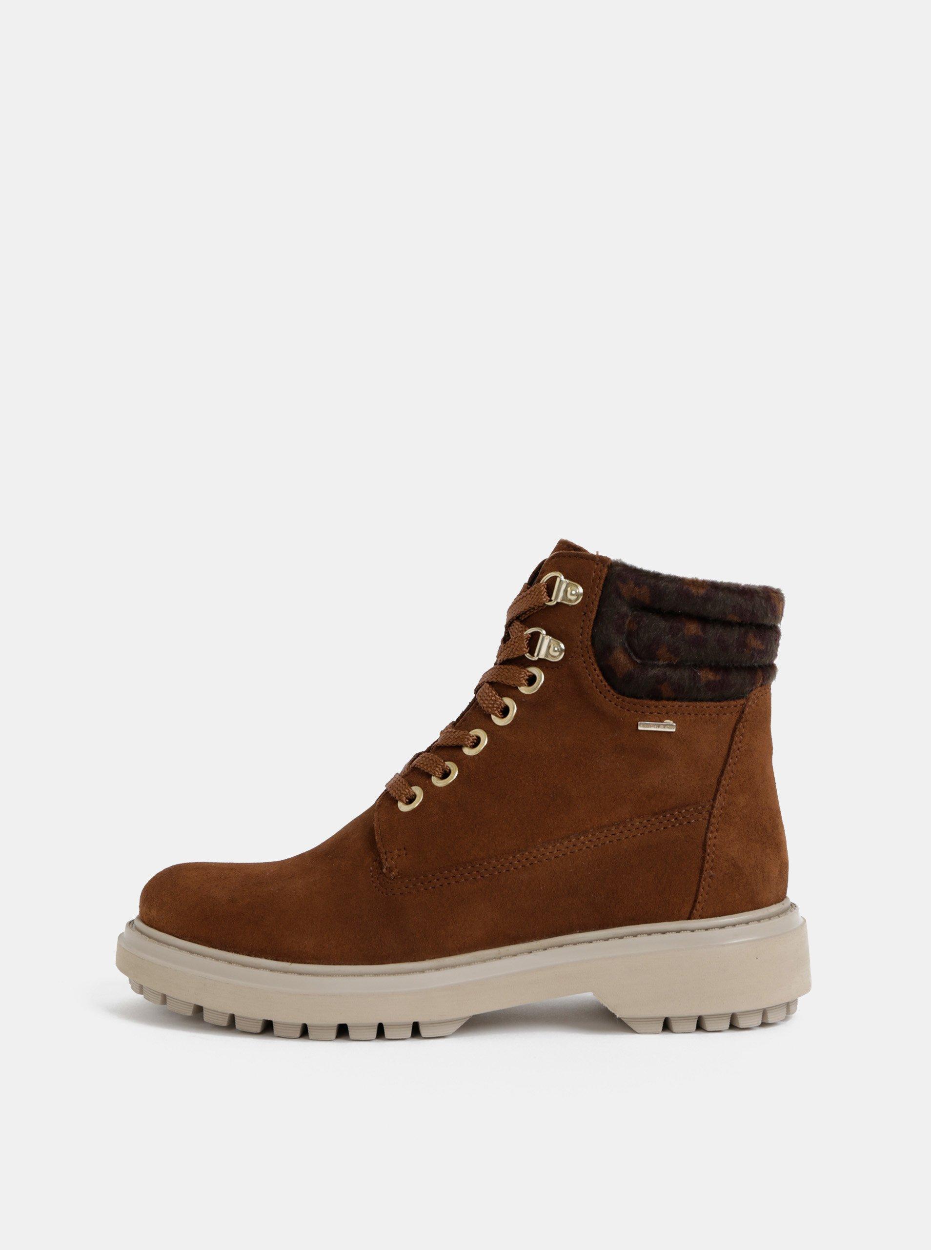 Hnedé dámske semišové kotníkové nepromokavé zimné topánky Geox Asheely