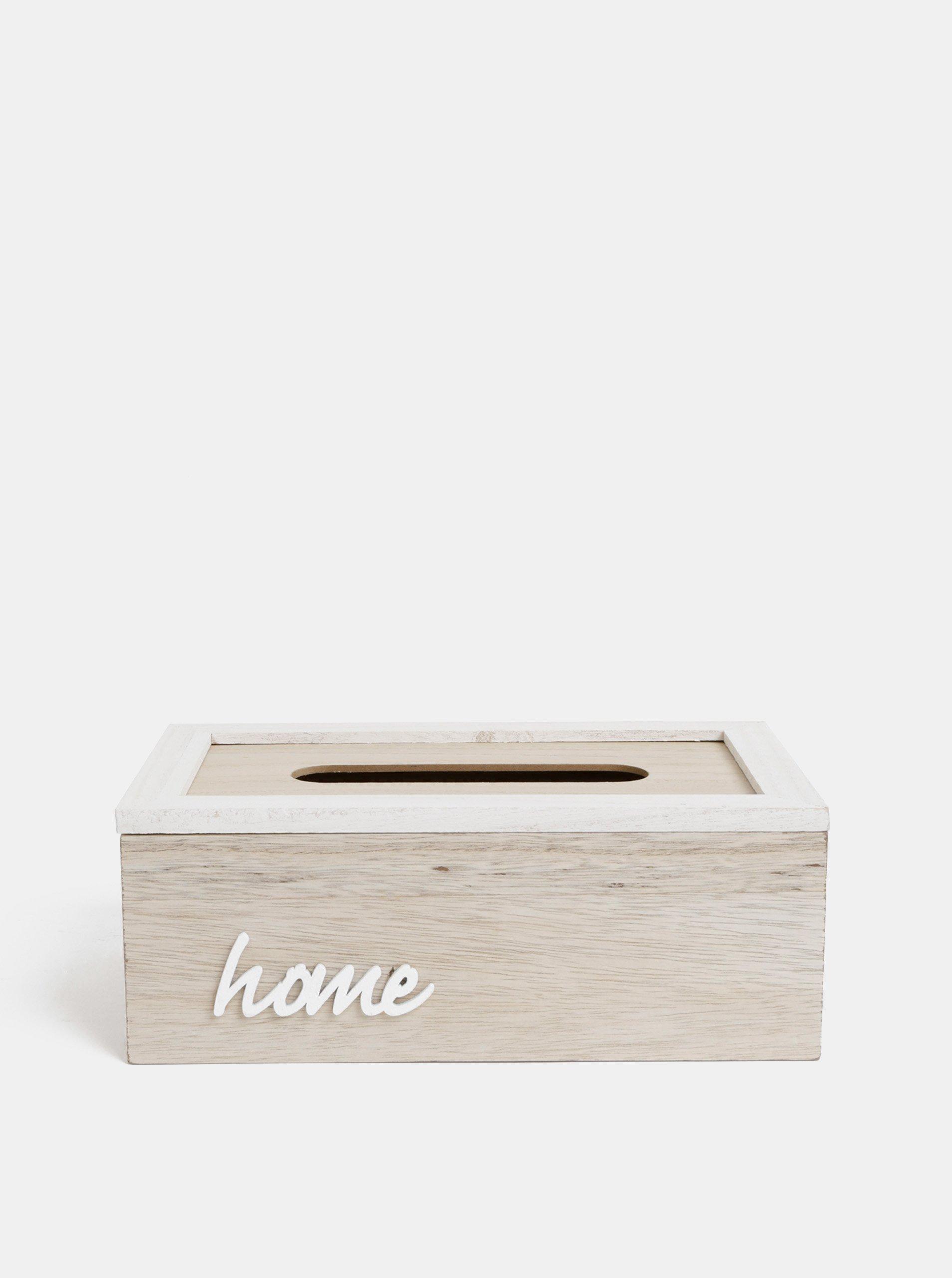 Svetlohnedá drevená krabička na vreckovky Dakls