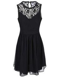 Rochie neagră cu detalii de dantelă Vero Moda Aya