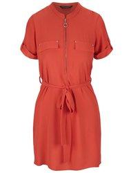 Oranžové šaty s ozdobnými kapsami Dorothy Perkins