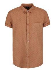 Hnědá košile s drobným vzorem s krátkým rukávem Burton Menswear London