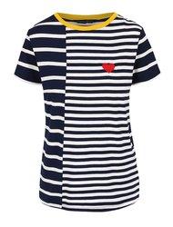 Bílo-modré pruhované tričko se srdcem Dorothy Perkins